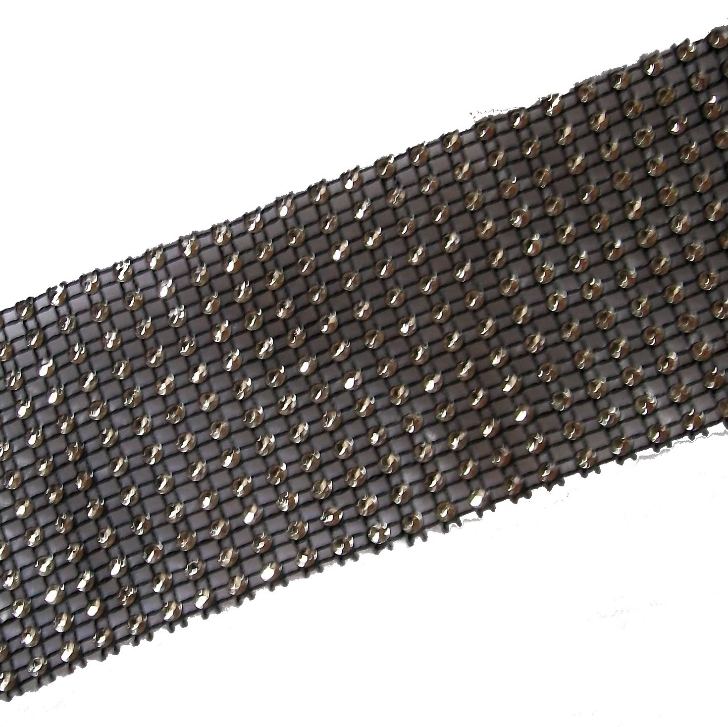 12 Row Diamante Trim 6cm Wide Black 3 metre length