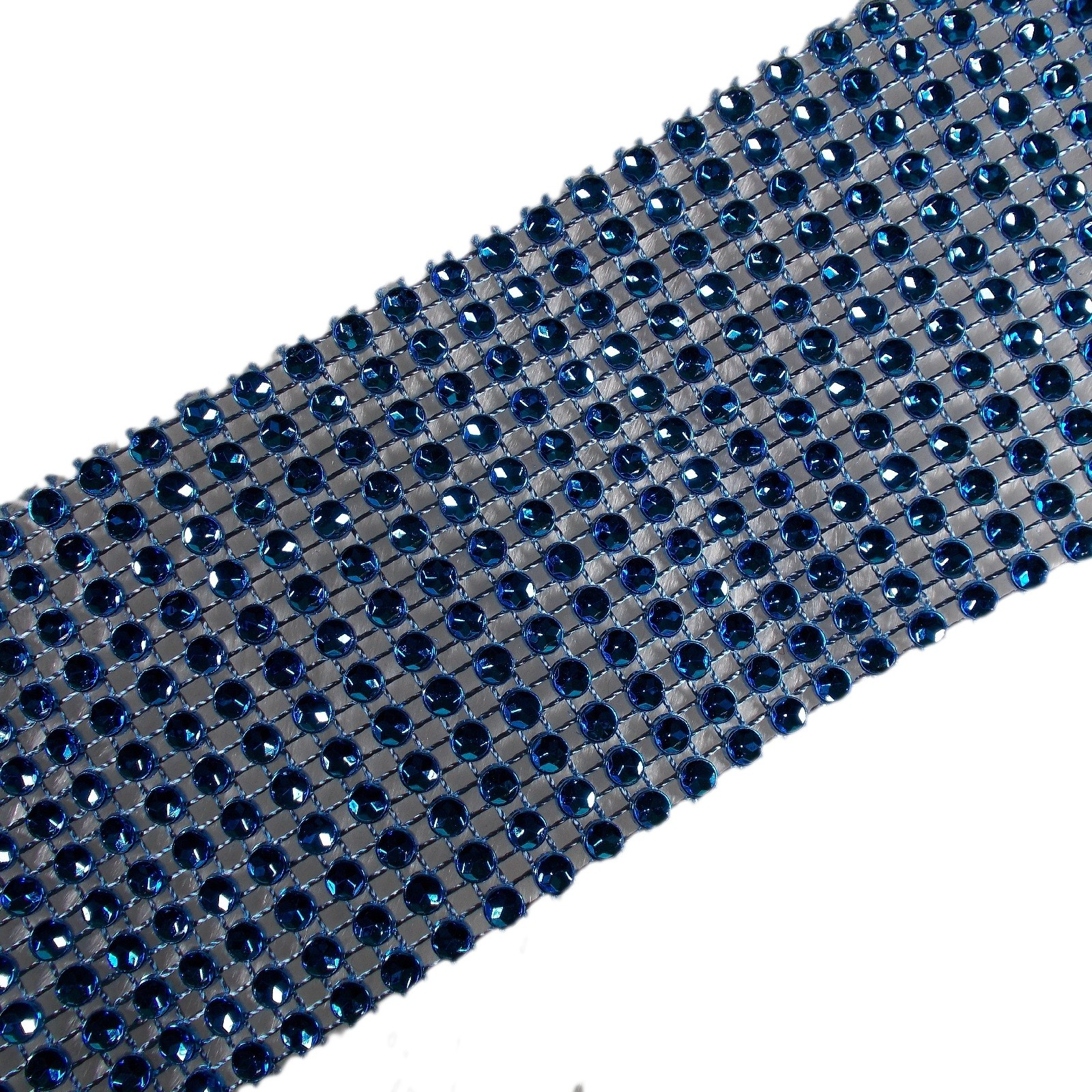 12 Row Diamante Trim 6cm Wide Blue 1 metre length