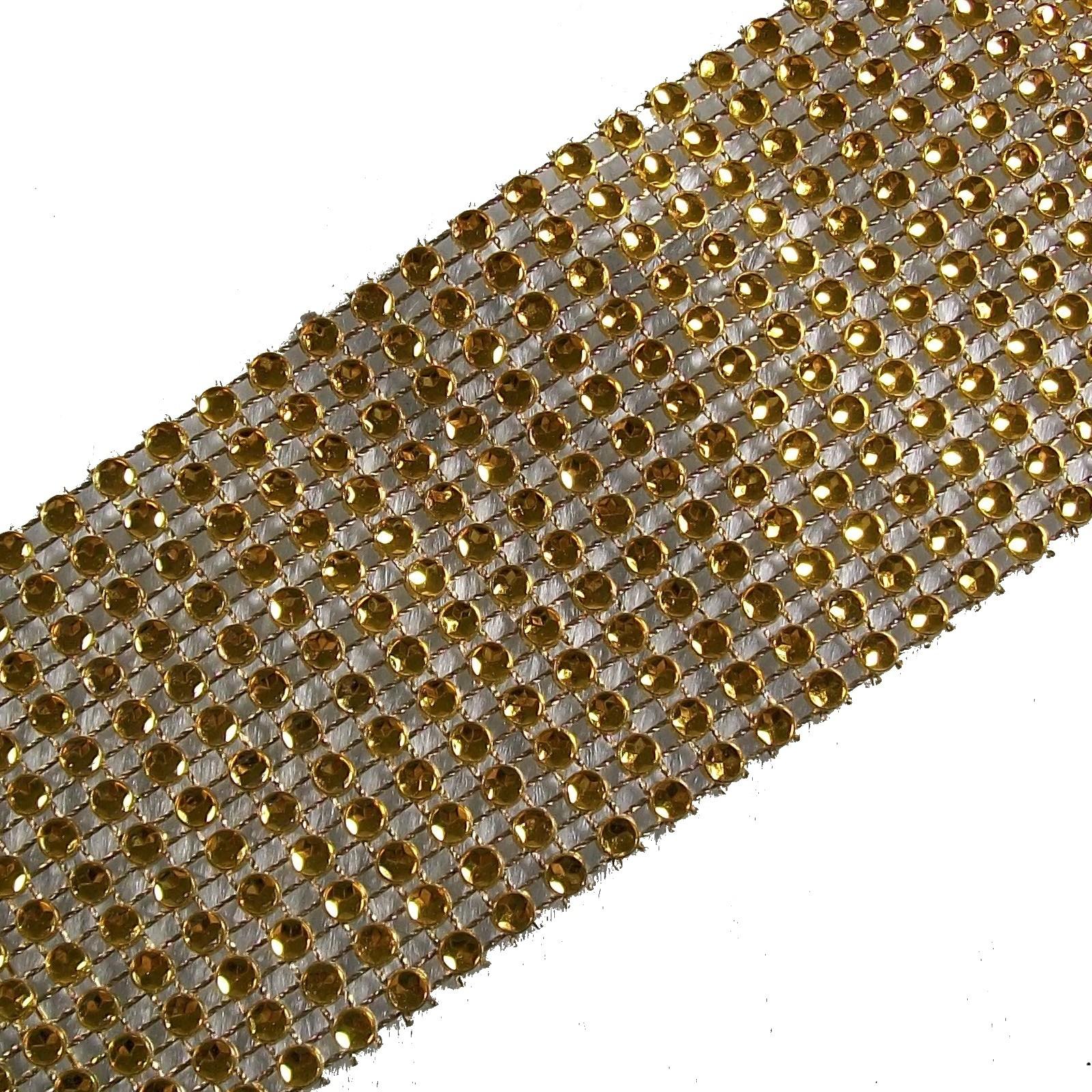12 Row Diamante Trim 6cm Wide Gold 2 metre length