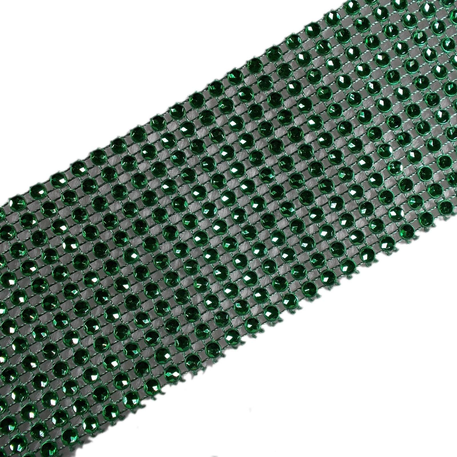 12 Row Diamante Trim 6cm Wide Green 2 metre length