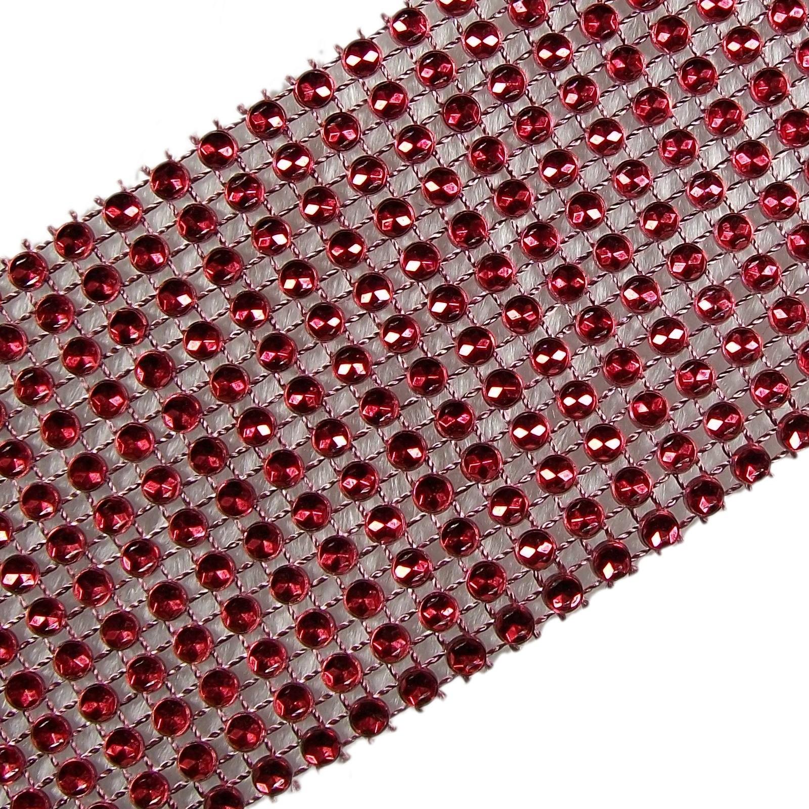 12 Row Diamante Trim 6cm Wide Red 3 metre length
