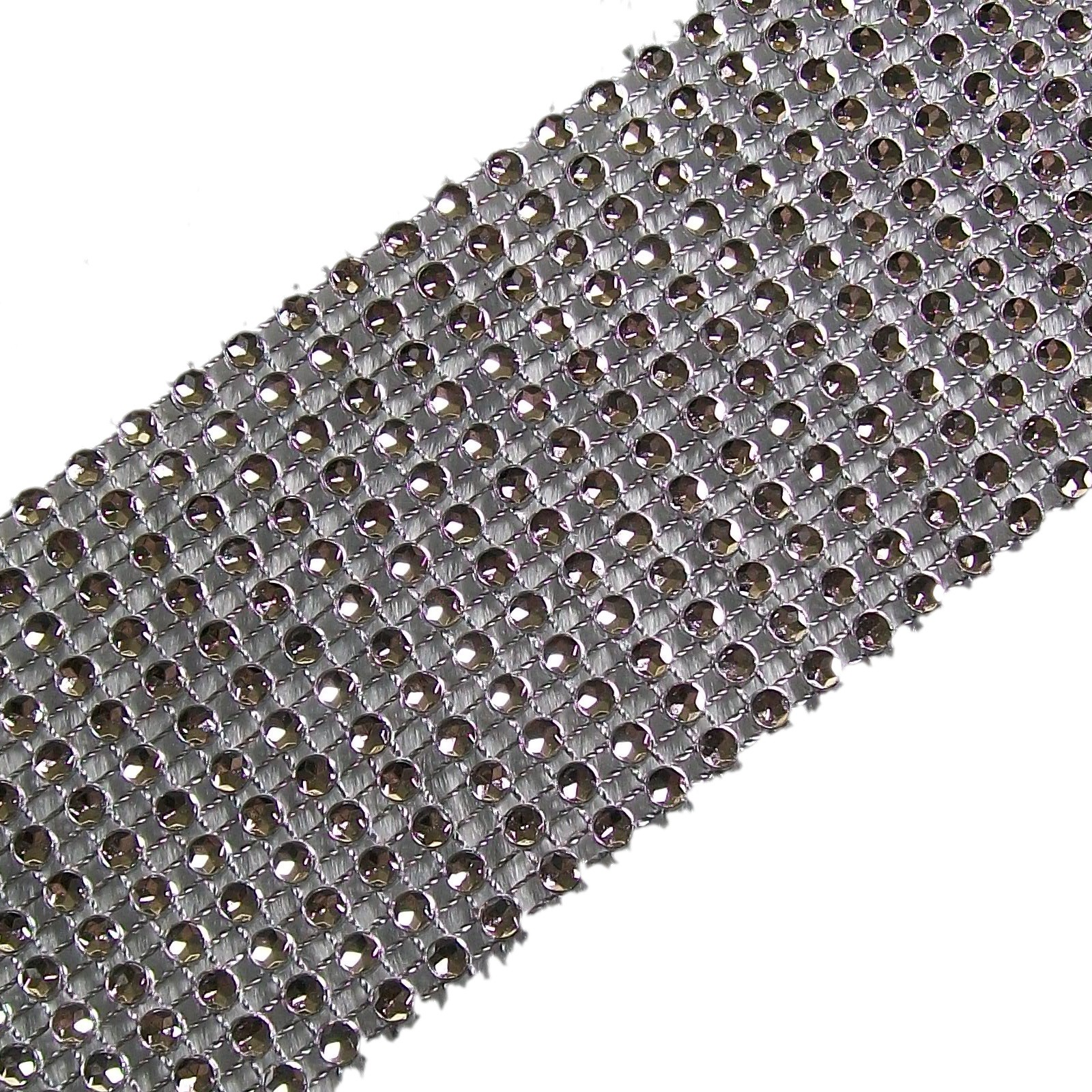 12 Row Diamante Trim 6cm Wide Silver 1 metre length