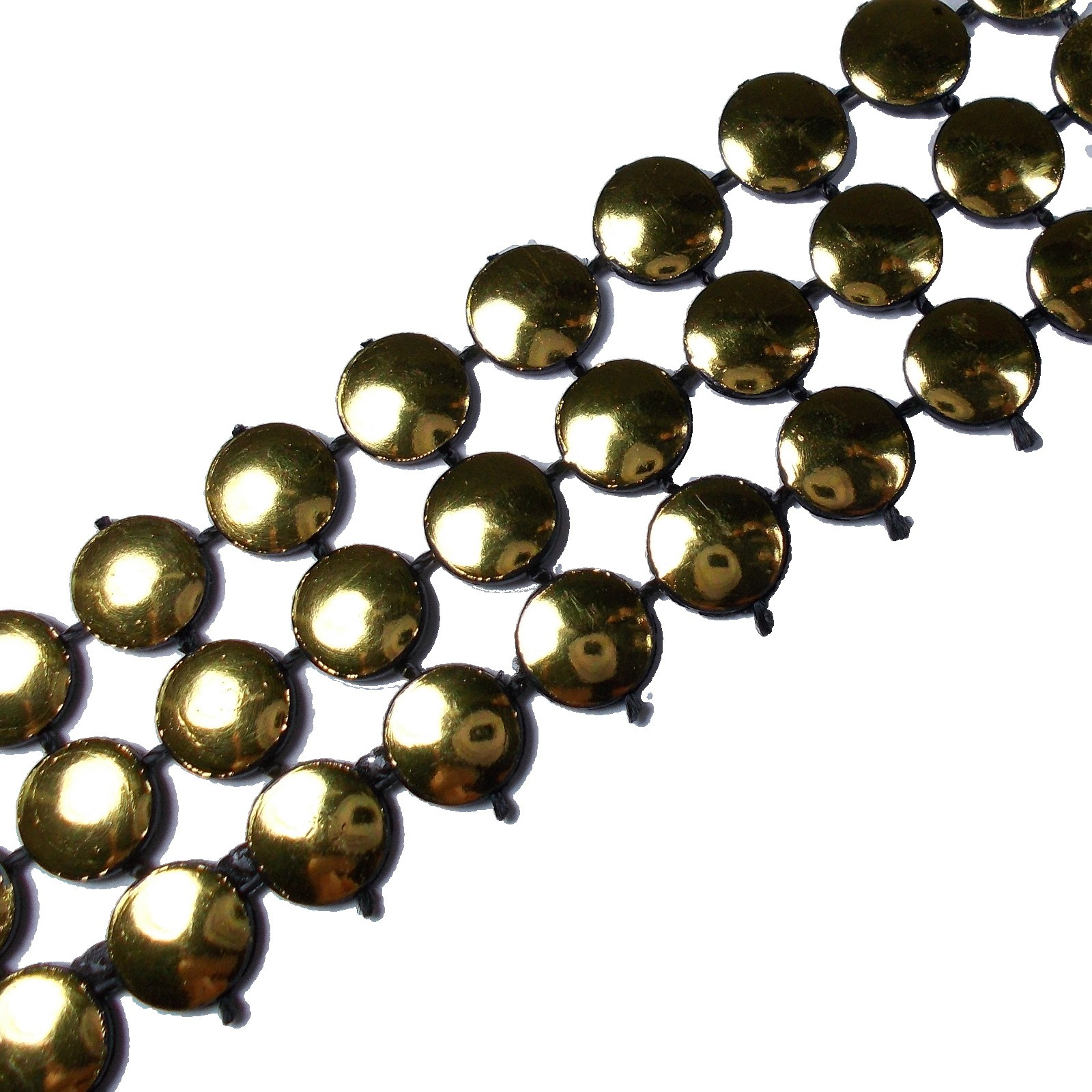 3 Row Stud Trim 19mm Wide Gold 2 metre length