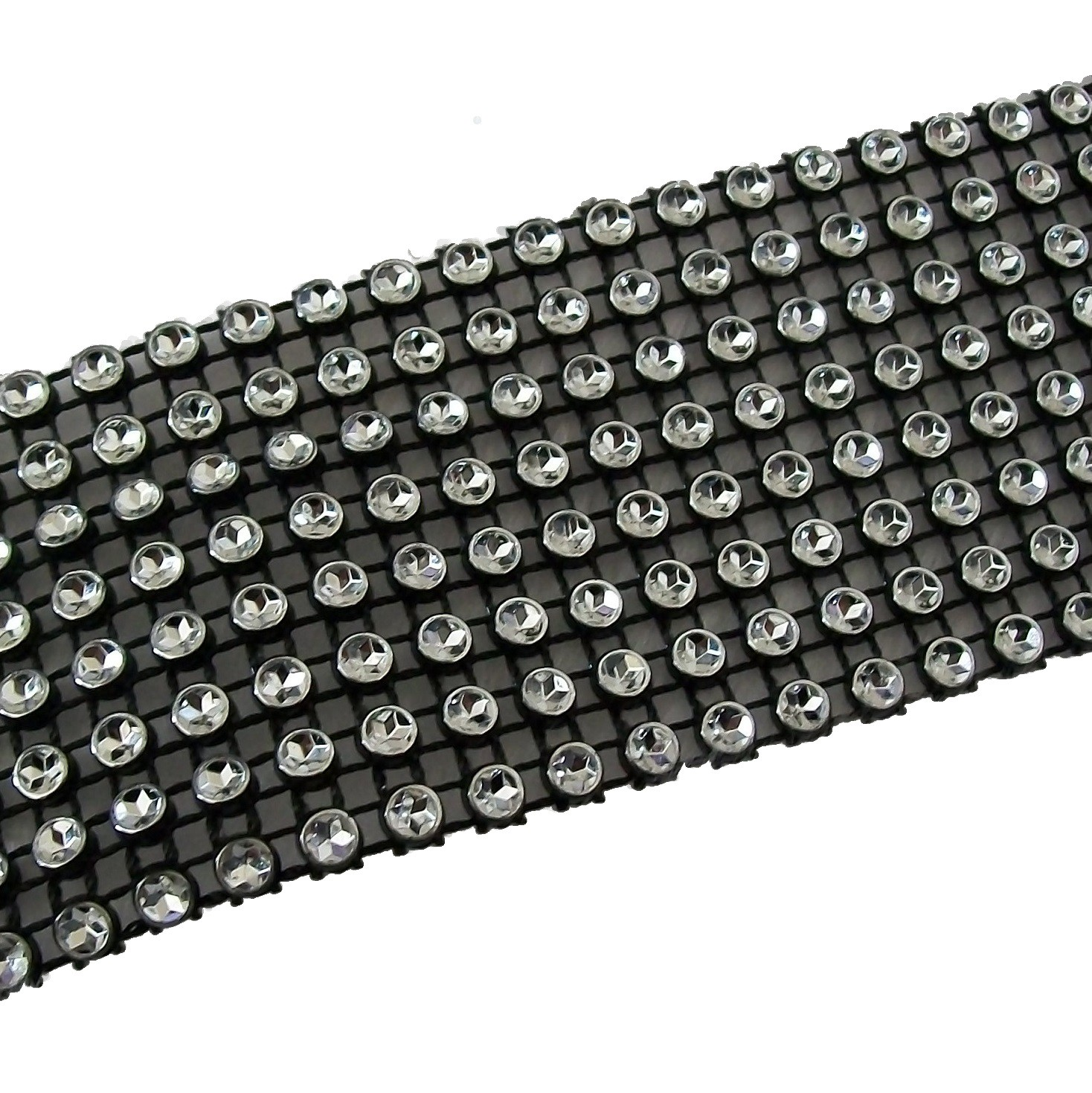 8 Row Diamante Trim 3.8cm Wide Black 1 metre length