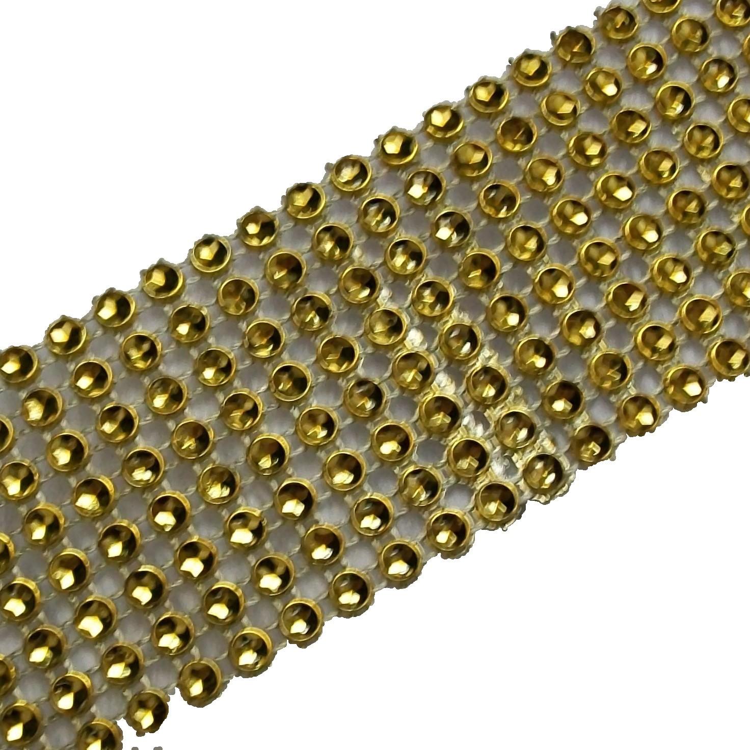 8 Row Diamante Trim 3.8cm Wide Gold 2 metre length