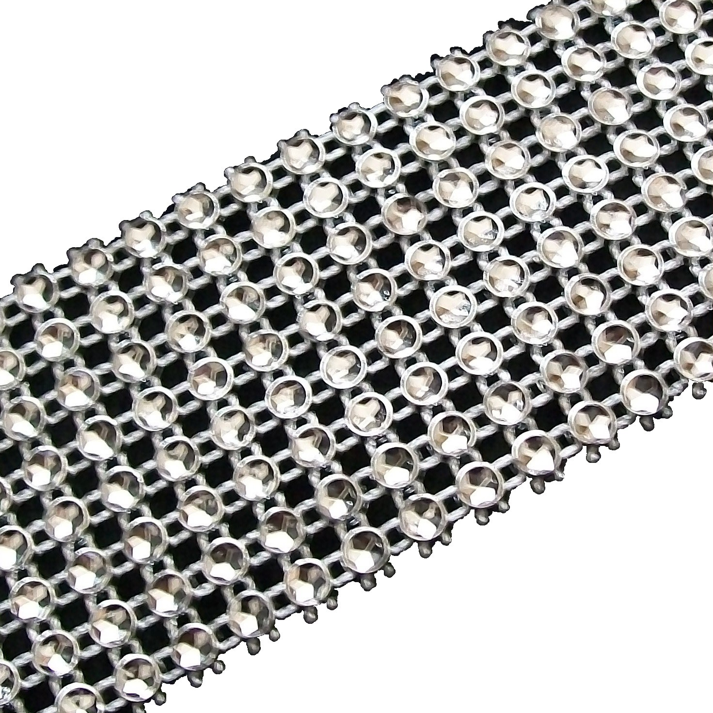 8 Row Diamante Trim 3.8cm Wide Silver 1 metre length