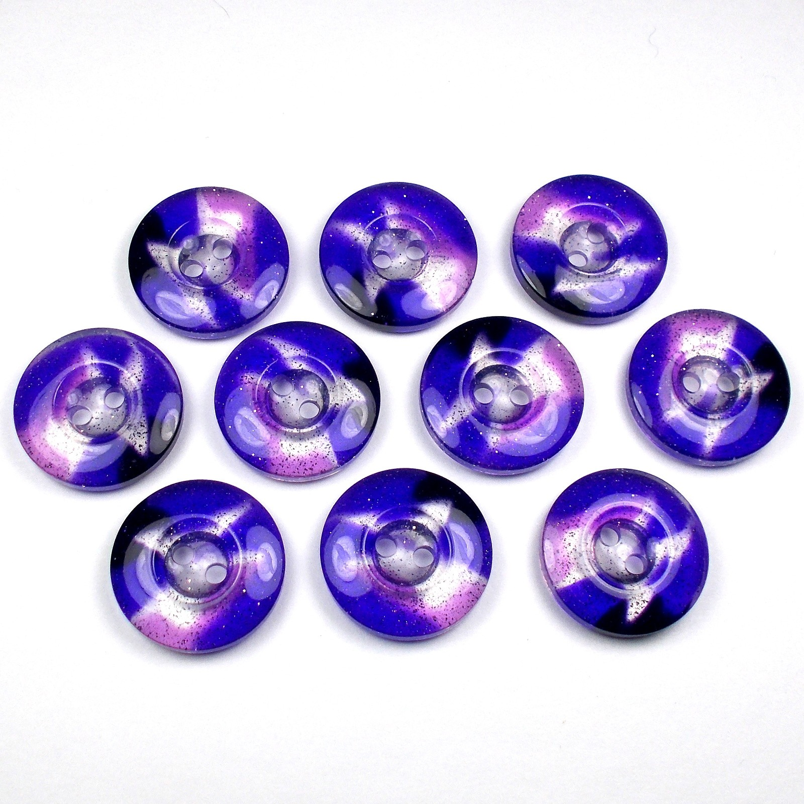 Acrylic Clear Round Glitter Buttons 18mm Purple Pack of 10