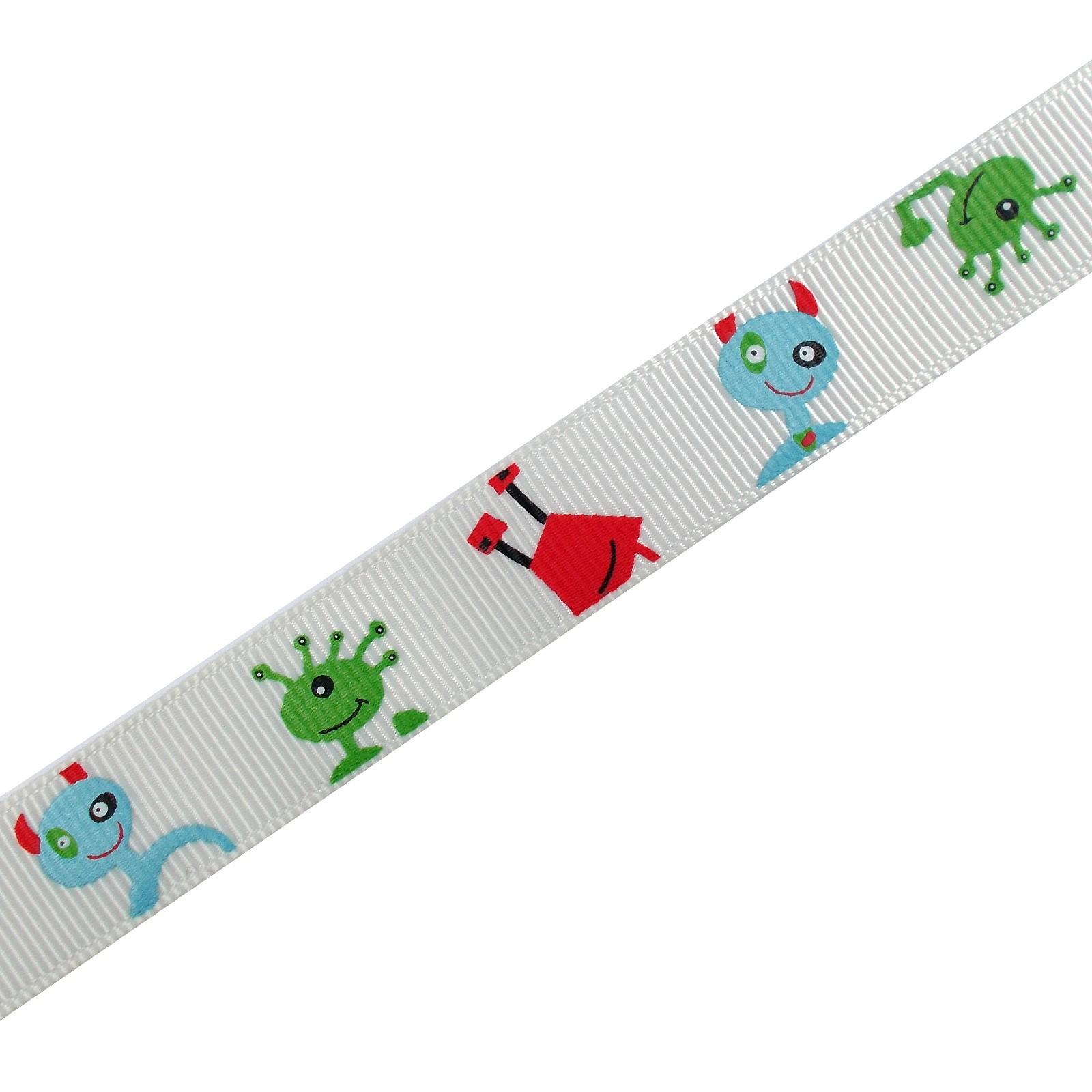 Adventure Childrens Ribbon 16mm Wide White Aliens and Monsters 3 metre length