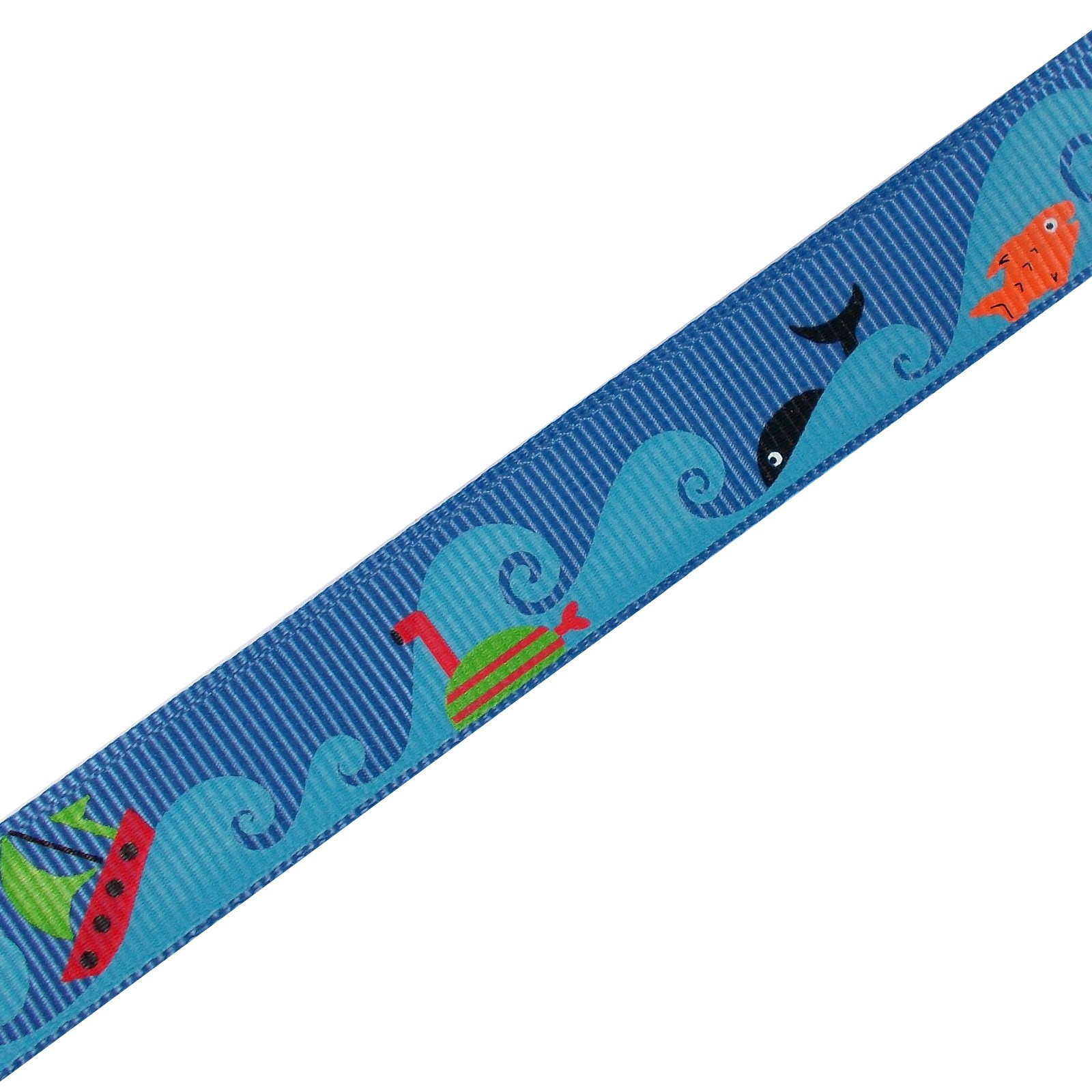 Adventure Childrens Ribbon 16mm Wide Blue Boats and Fish 1 metre length