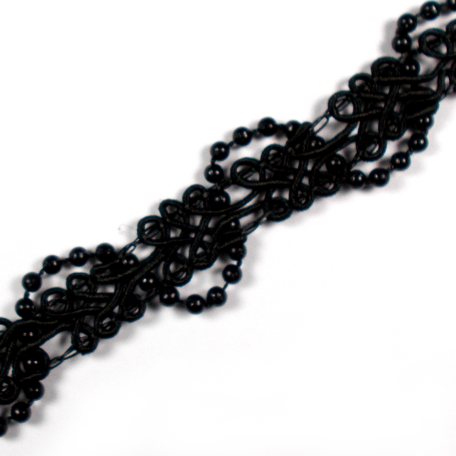 Beaded Braid Lace Trim 2cm wide Black 1 metre length