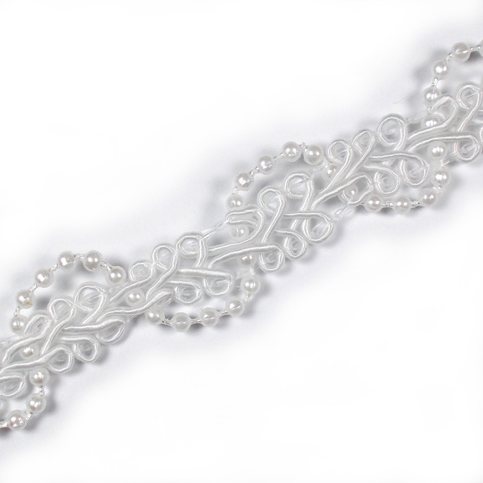Beaded Braid Lace Trim 2cm wide White 1 metre length