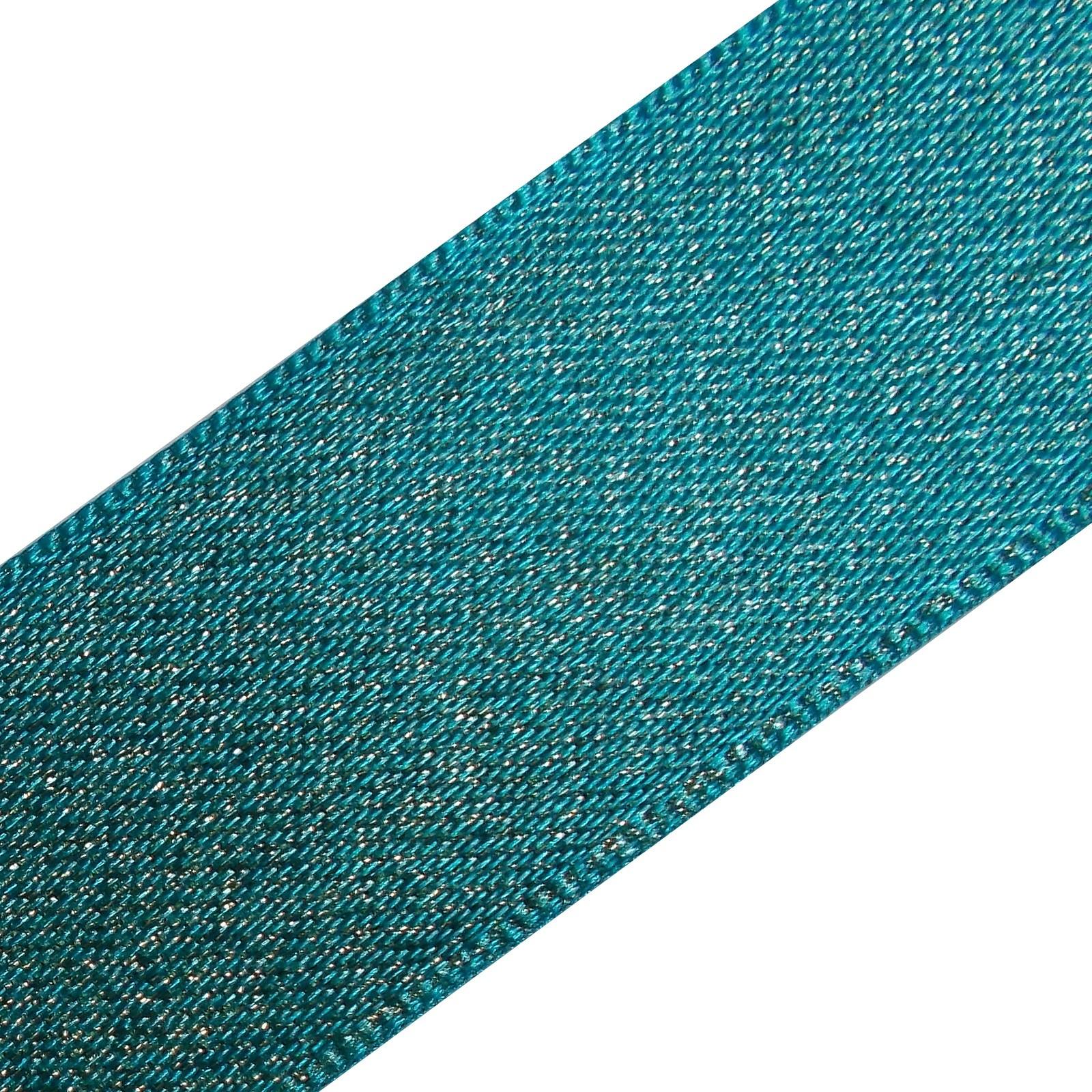 Berisfords Glitter Satin Ribbon 25mm wide Blue 3 metre length