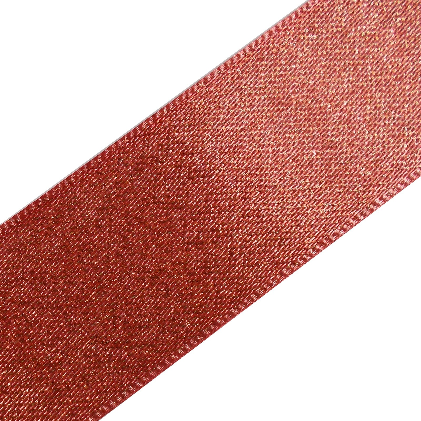 Berisfords Glitter Satin Ribbon 15mm wide Coral Pink 1 metre length