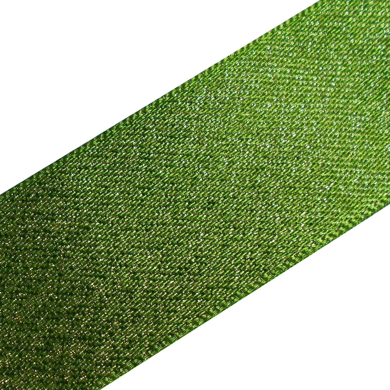 Berisfords Glitter Satin Ribbon 25mm wide Green 1 metre length