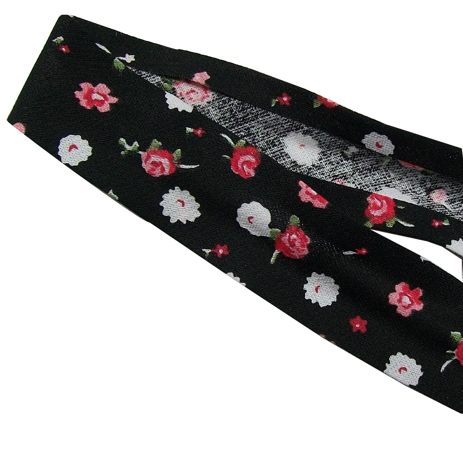 Bias Binding Patterned Cotton 25mm wide Black with Flowers 1 metre length