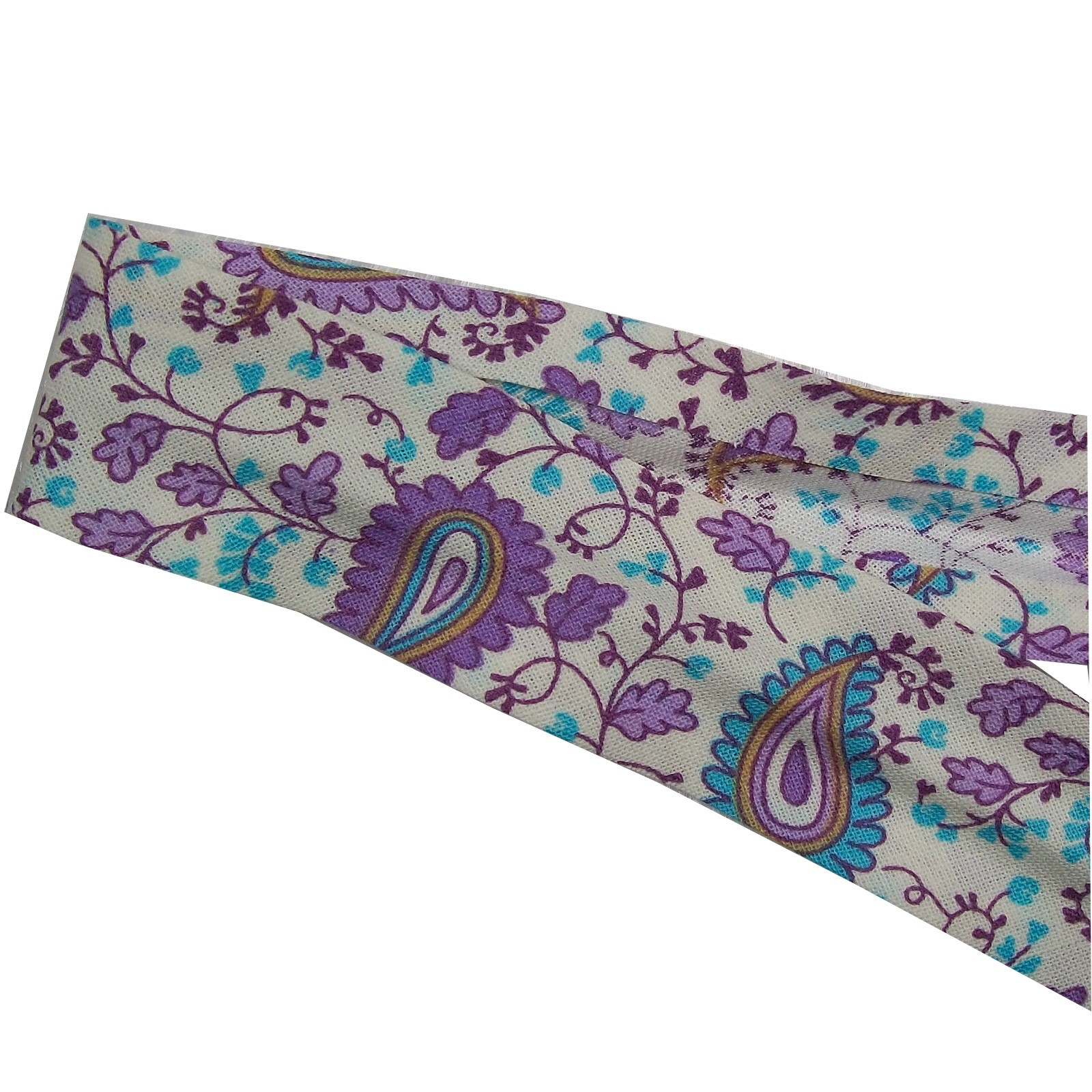 Bias Binding Patterned Cotton 25mm wide Blue Lilac Paisley 1 metre length