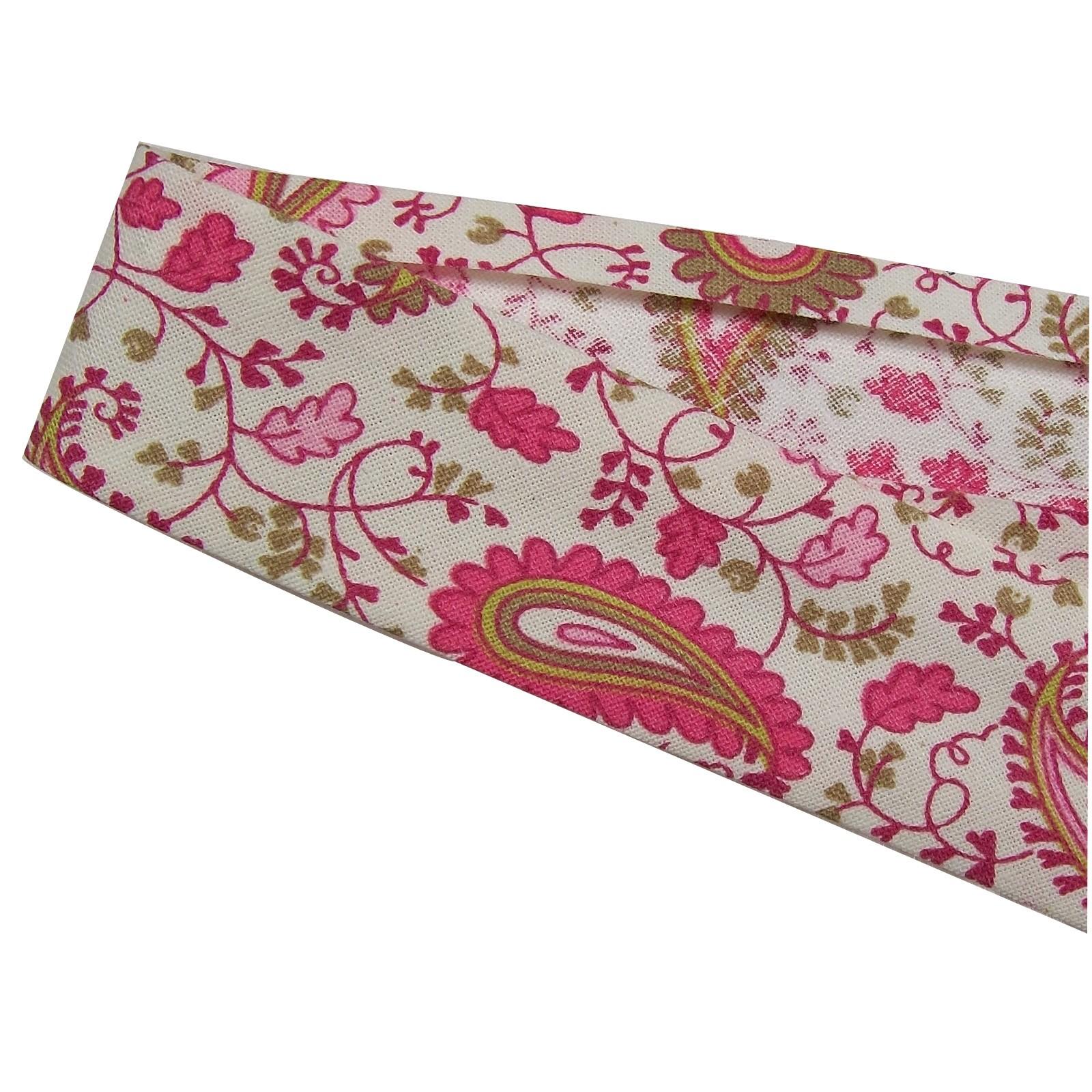 Bias Binding Patterned Cotton 25mm wide Pink Paisley 2 metre length