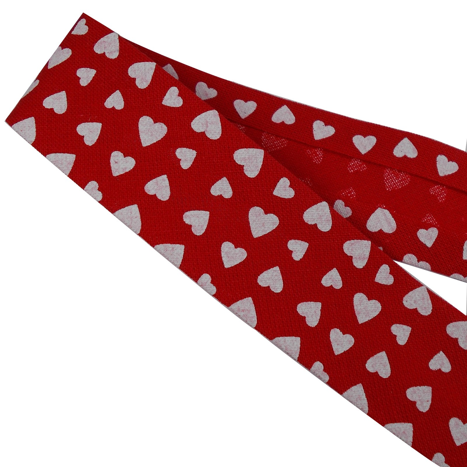 Bias Binding Patterned Cotton 25mm Red with White Hearts 3 metre length