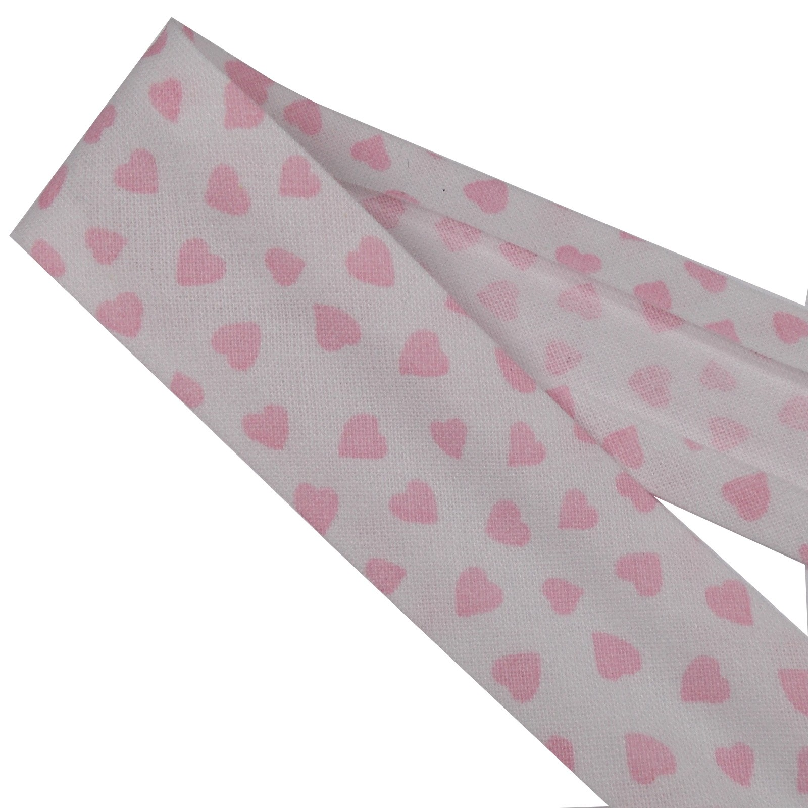 Bias Binding Patterned Cotton 25mm White with Pink Hearts 1 metre length