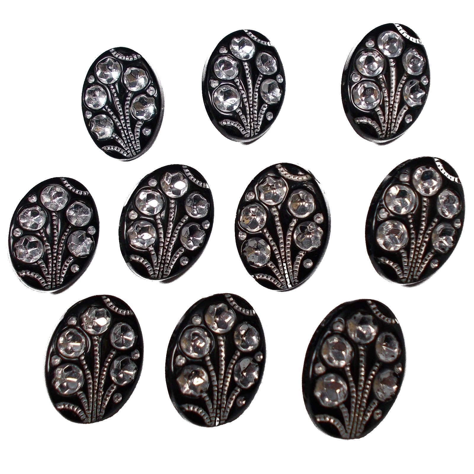Black Diamante Art Deco Style Buttons 15mm x 10mm Oval Pack of 10