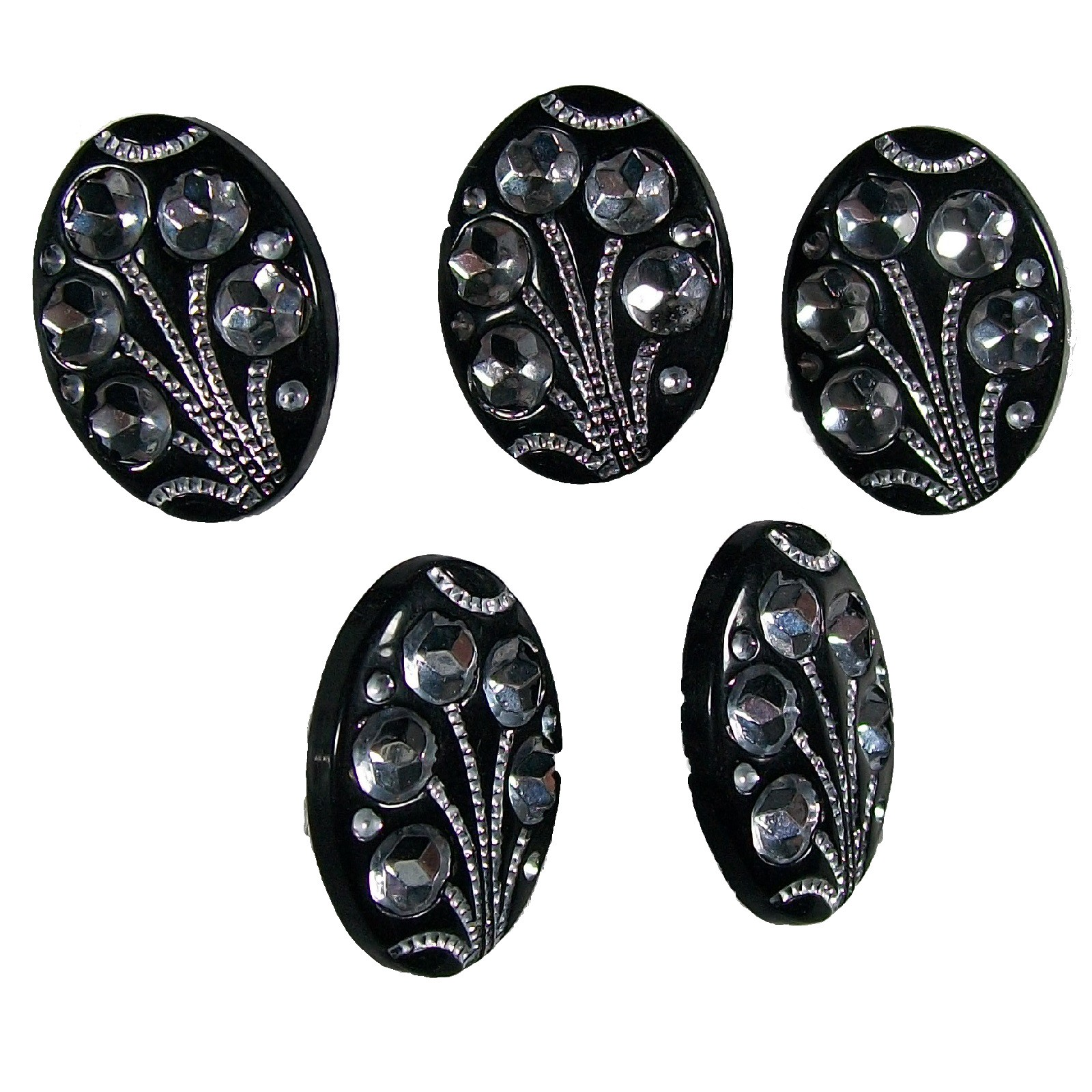 Black Diamante Art Deco Style Buttons 17mm x 12mm Oval Pack of 5