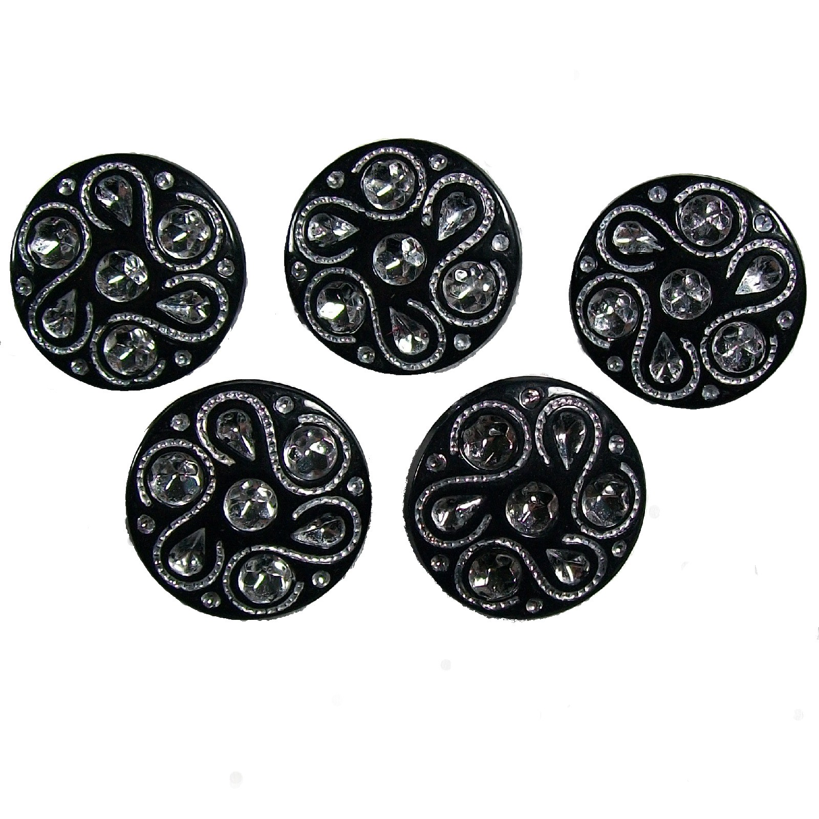 Black Diamante Art Deco Style Buttons 15mm Round Pack of 5