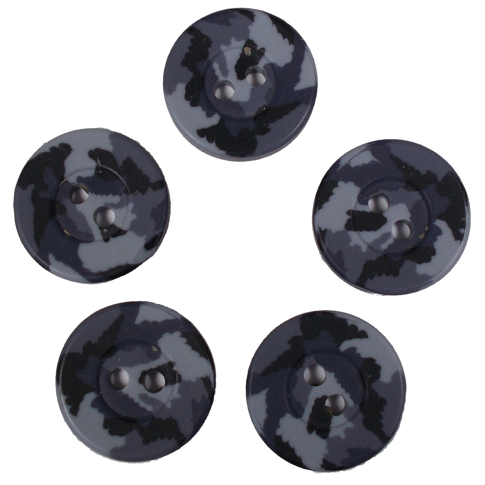 Camouflage Round Button 15mm Grey Pack of 5