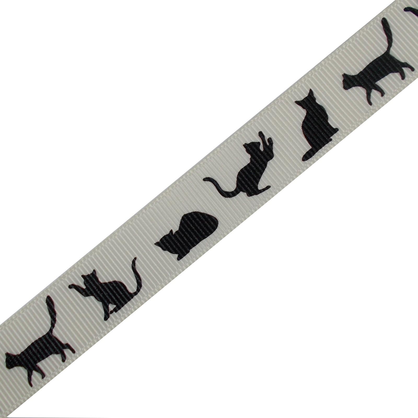 Cat Black Silhouette Cream Ribbon 16mm wide 2 metre length
