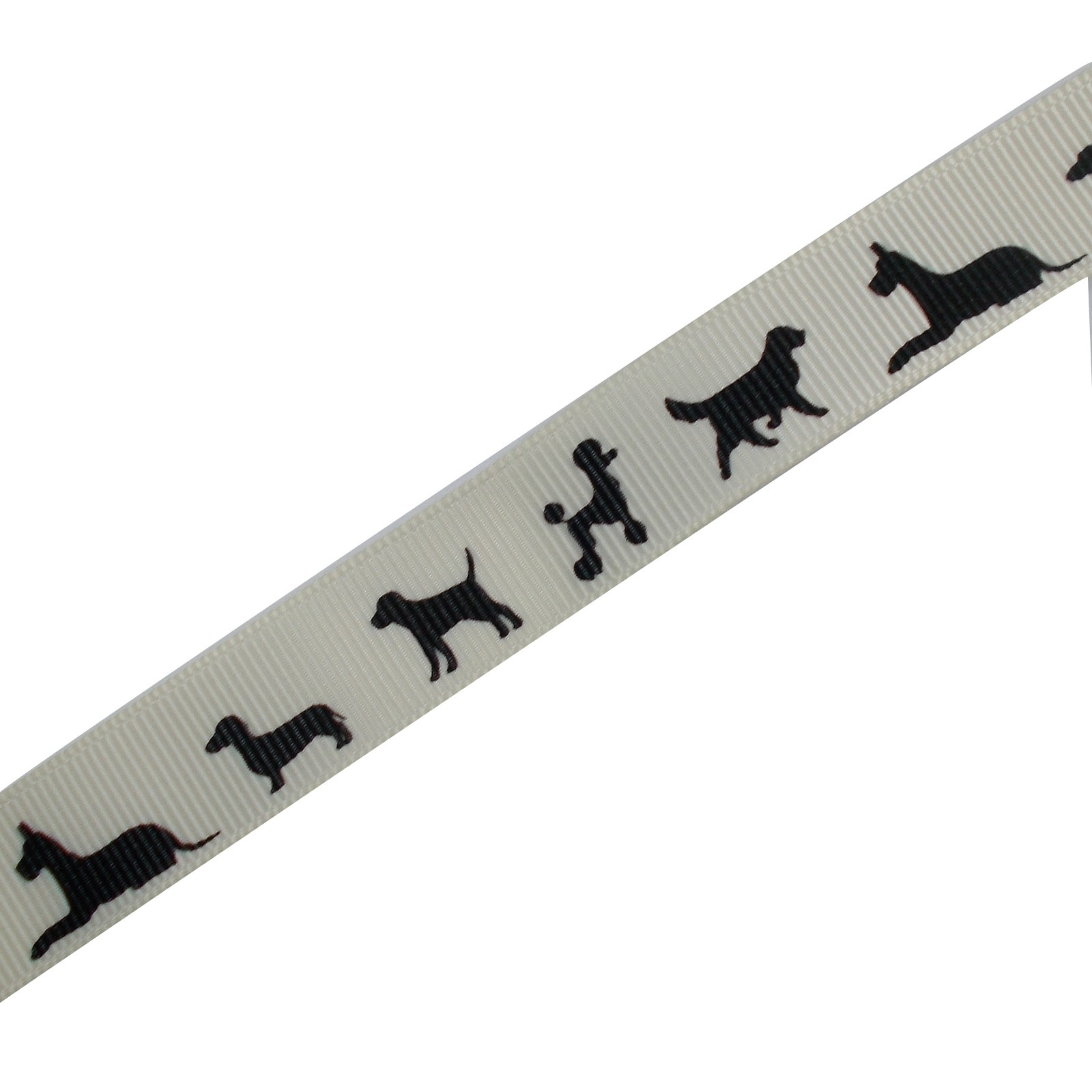 Dog Black Silhouette Cream Ribbon 16mm wide 1 metre length