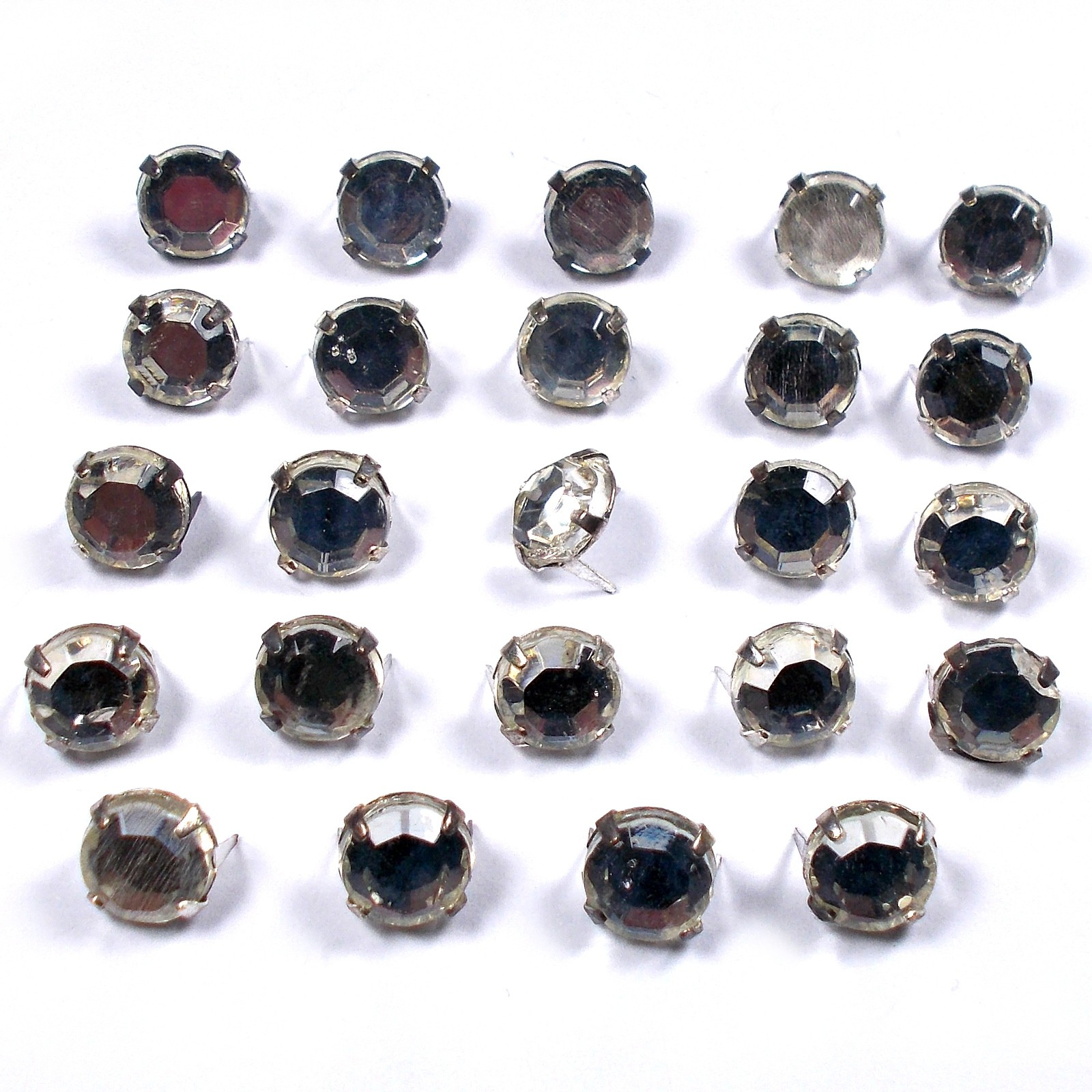 Clip on Clear Crystal Effect Diamante Studs 4mm Pack of 24