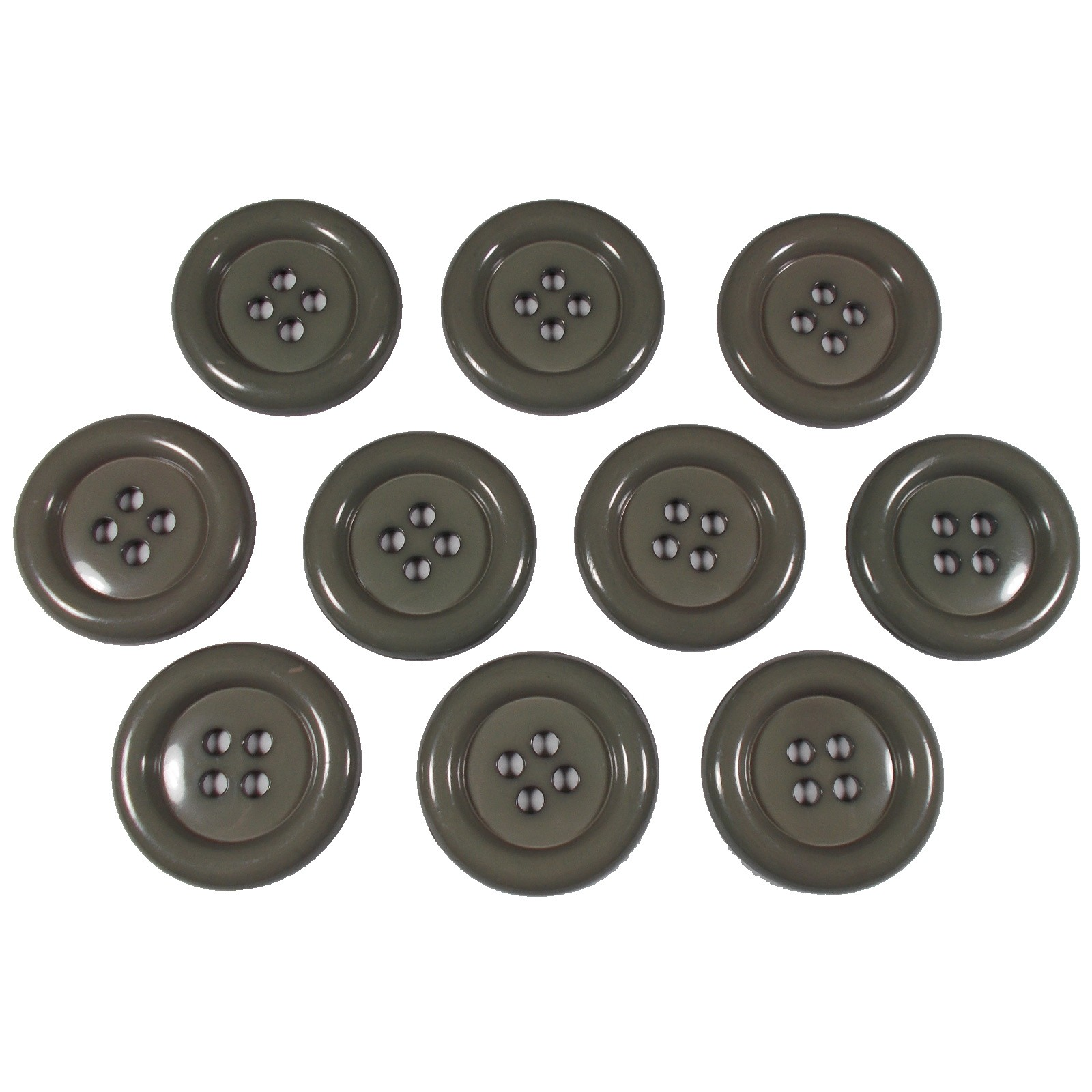 Large Round Clown Buttons 4 Hole 50mm Grey Pack of 10