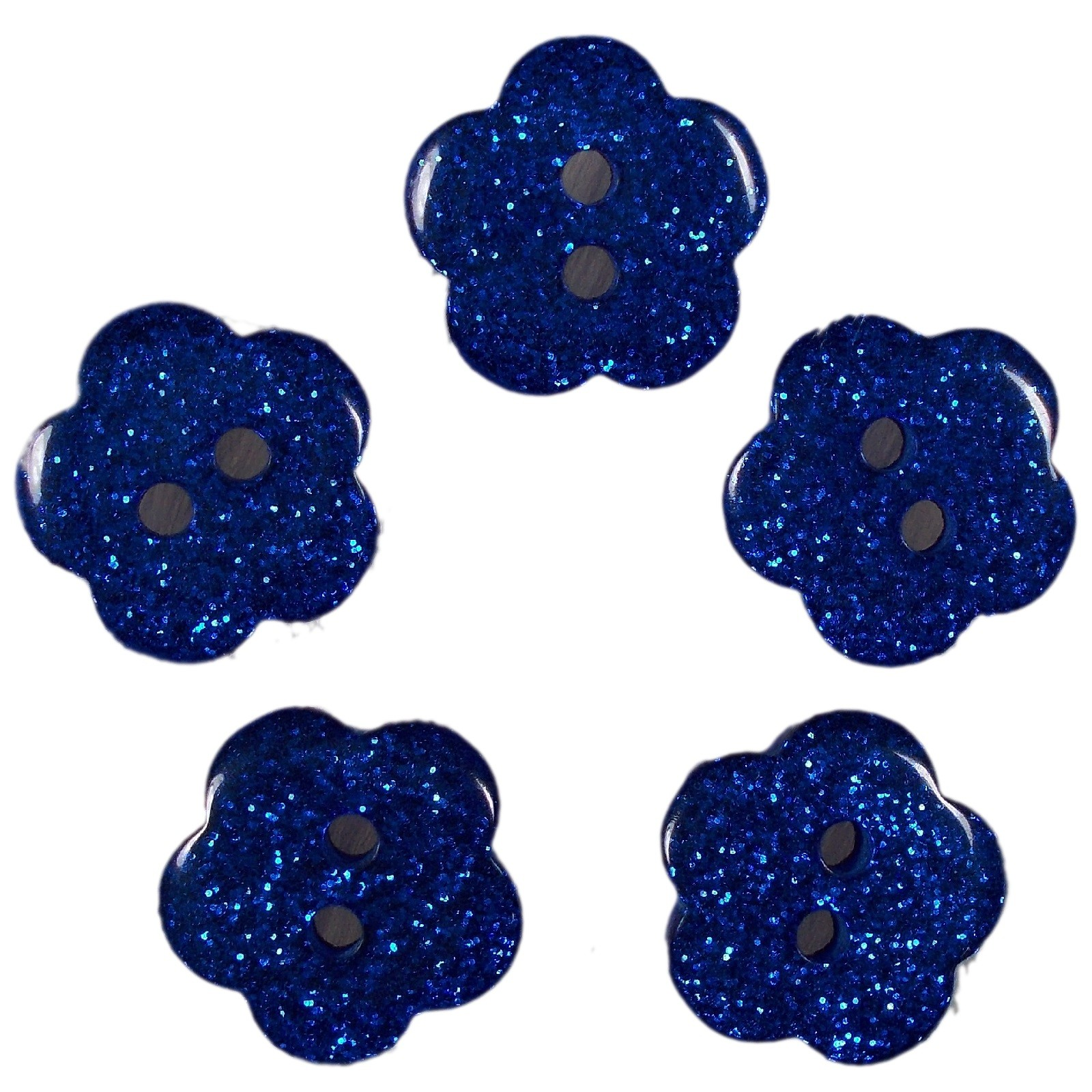 Colour Glitter Flower Shape Buttons 14mm Blue Pack of 5