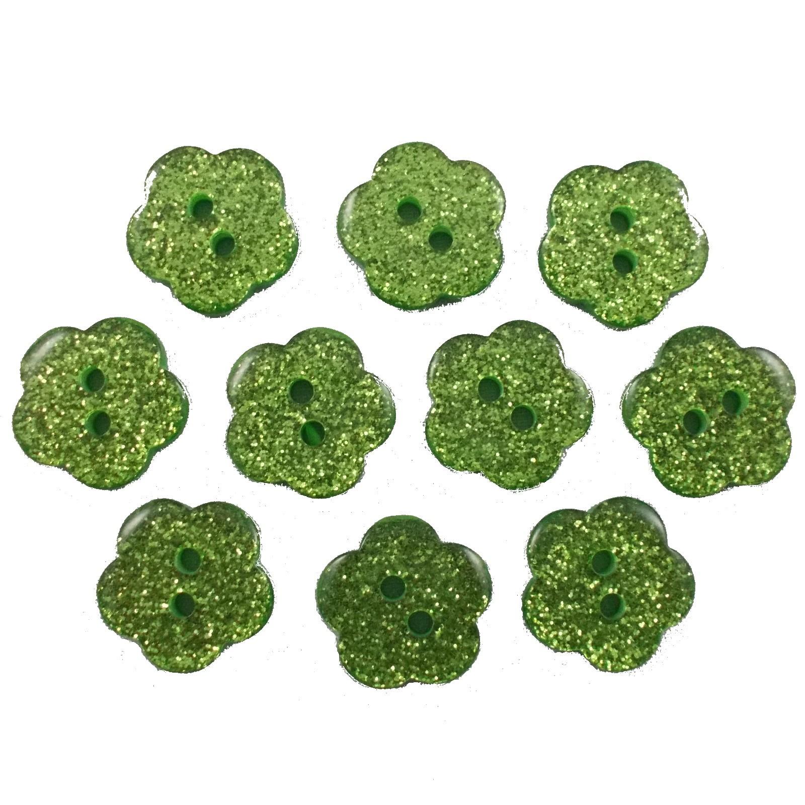 Colour Glitter Flower Shape Buttons 9mm Green Pack of 10