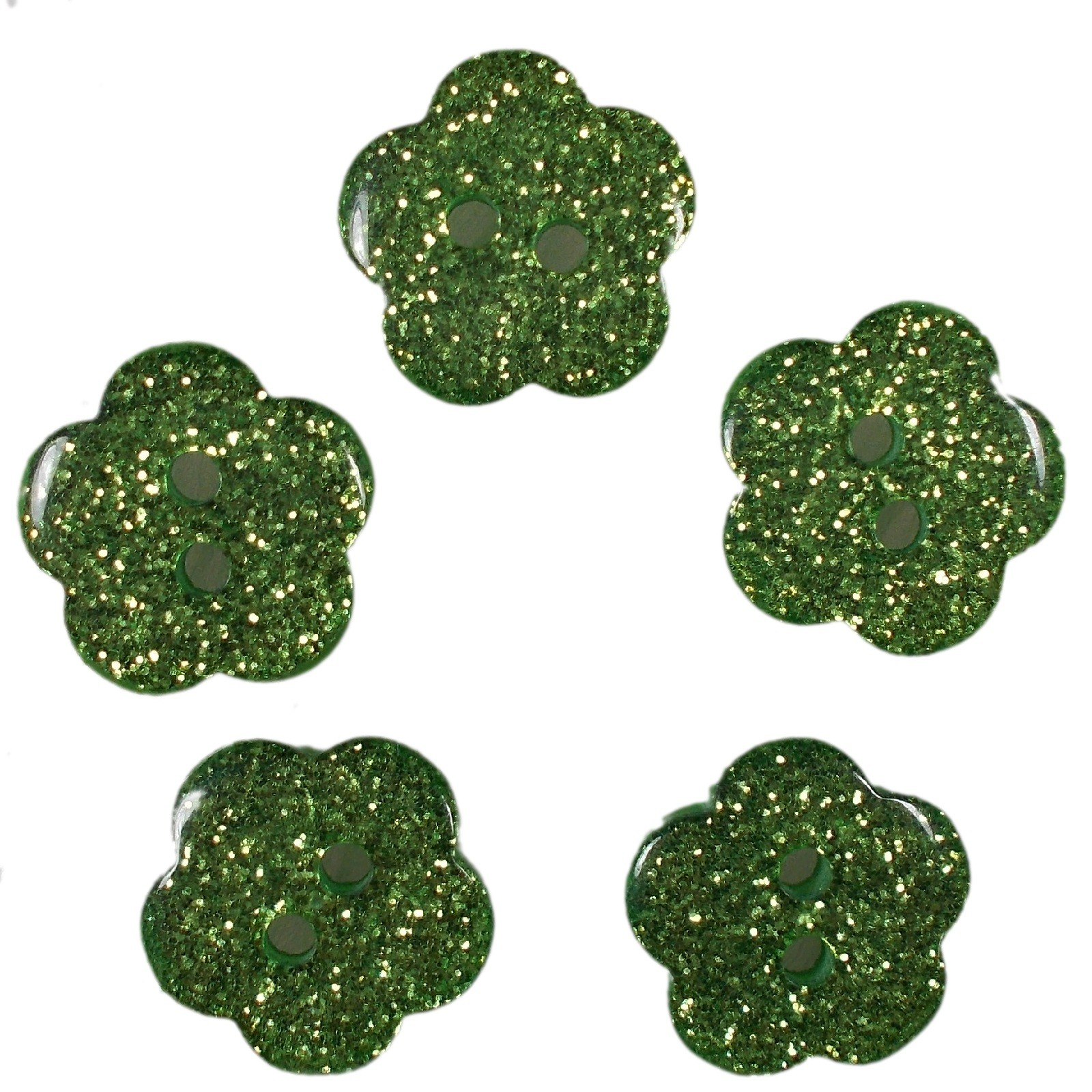 Colour Glitter Flower Shape Buttons 16mm Green Pack of 5