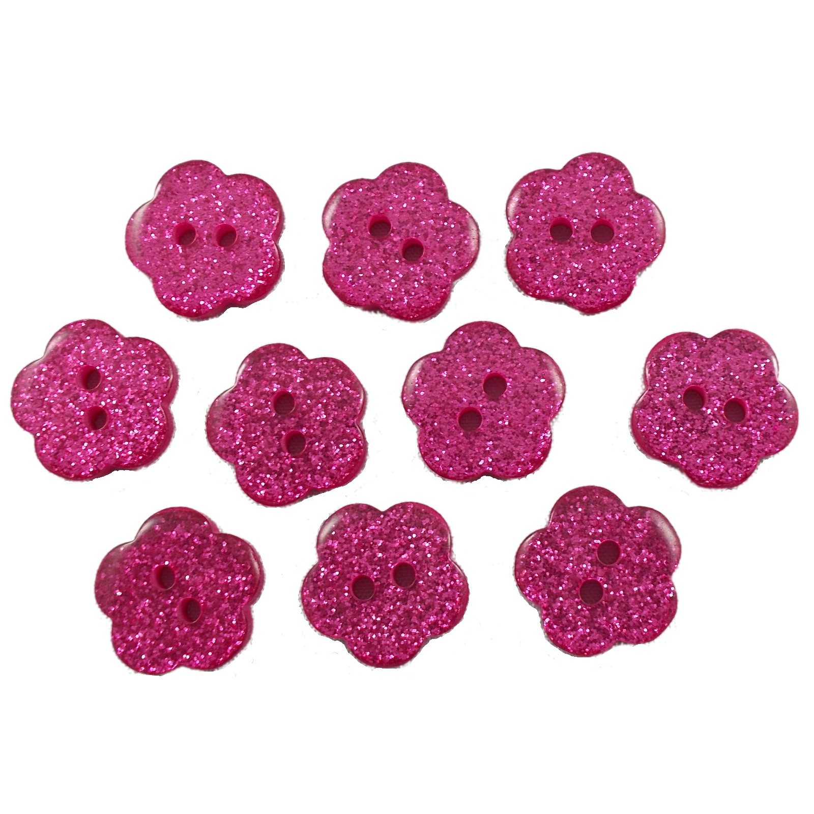 Colour Glitter Flower Shape Buttons 9mm Pink Pack of 10