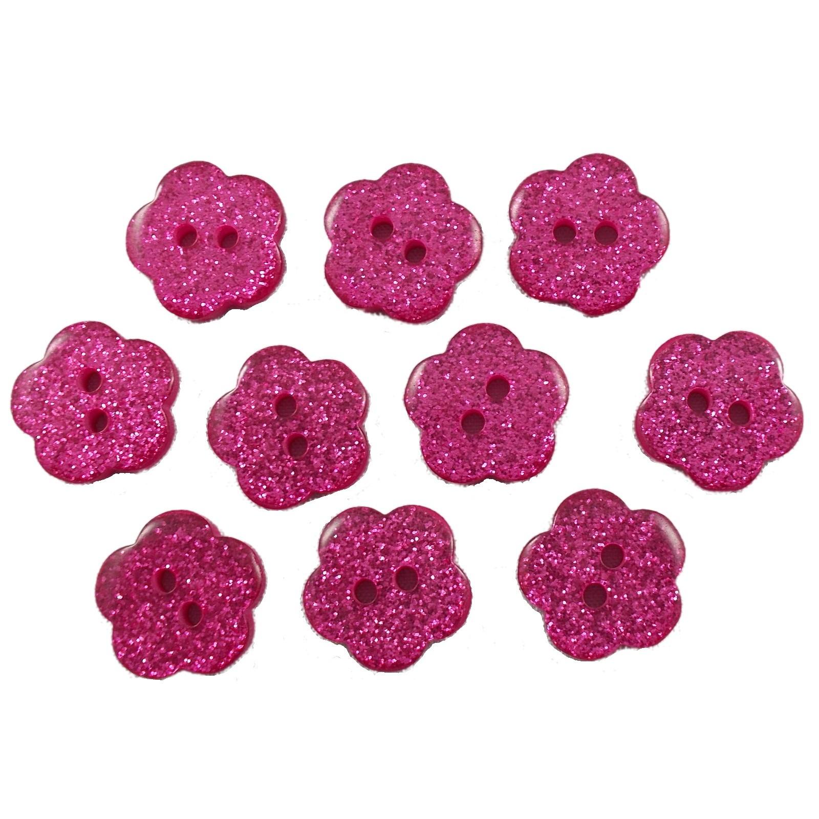 Colour Glitter Flower Shape Buttons 10mm Pink Pack of 10
