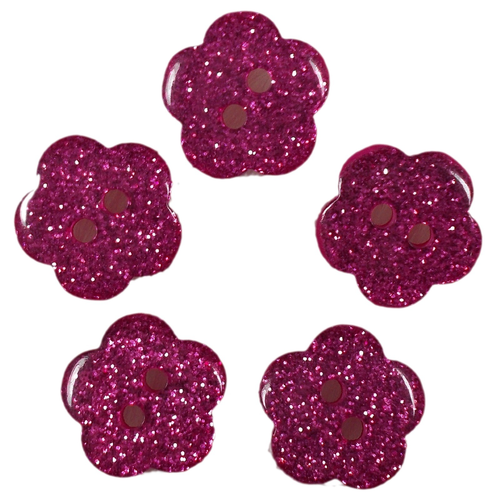 Colour Glitter Flower Shape Buttons 9mm Pink Pack of 5