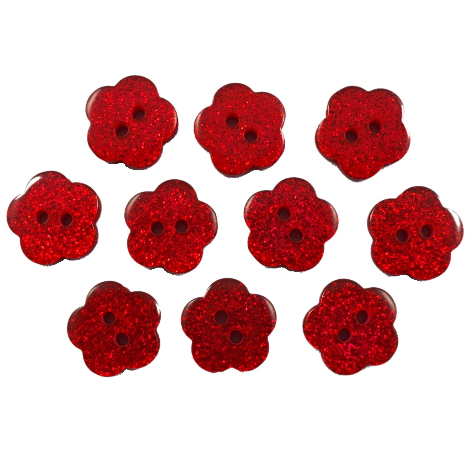 Colour Glitter Flower Shape Buttons 9mm Red Pack of 10