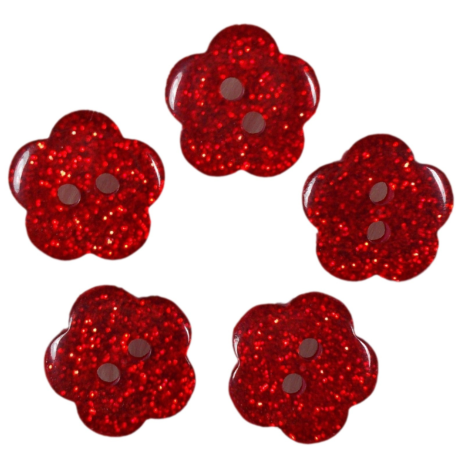 Colour Glitter Flower Shape Buttons 9mm Red Pack of 5