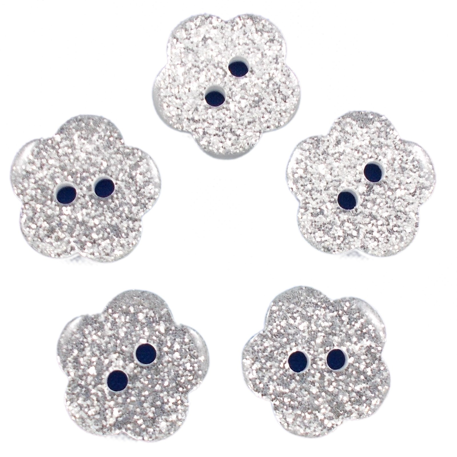 Colour Glitter Flower Shape Buttons 16mm Silver Pack of 5