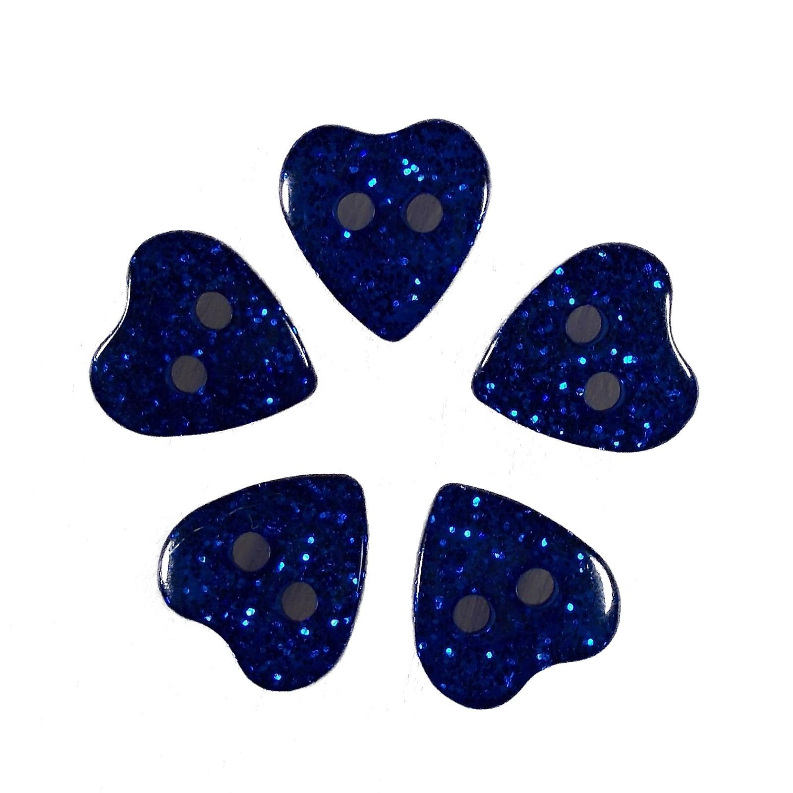 Colour Glitter Heart Shape Buttons 9mm Blue Pack of 5