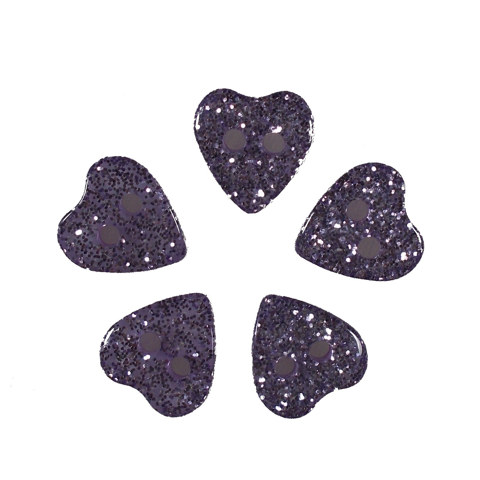 Colour Glitter Heart Shape Buttons 9mm Lilac Pack of 5
