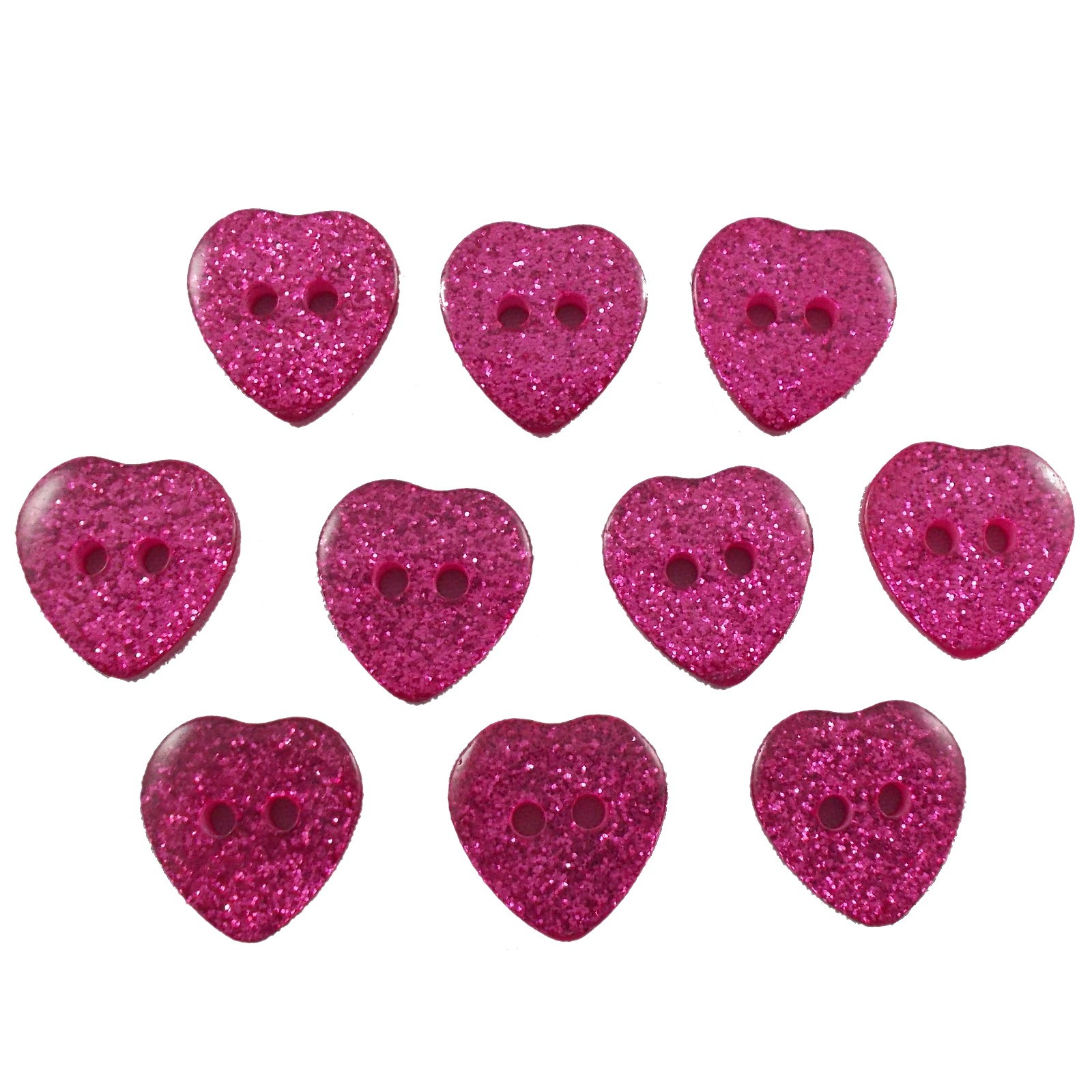 Colour Glitter Heart Shape Buttons 9mm Pink Pack of 10