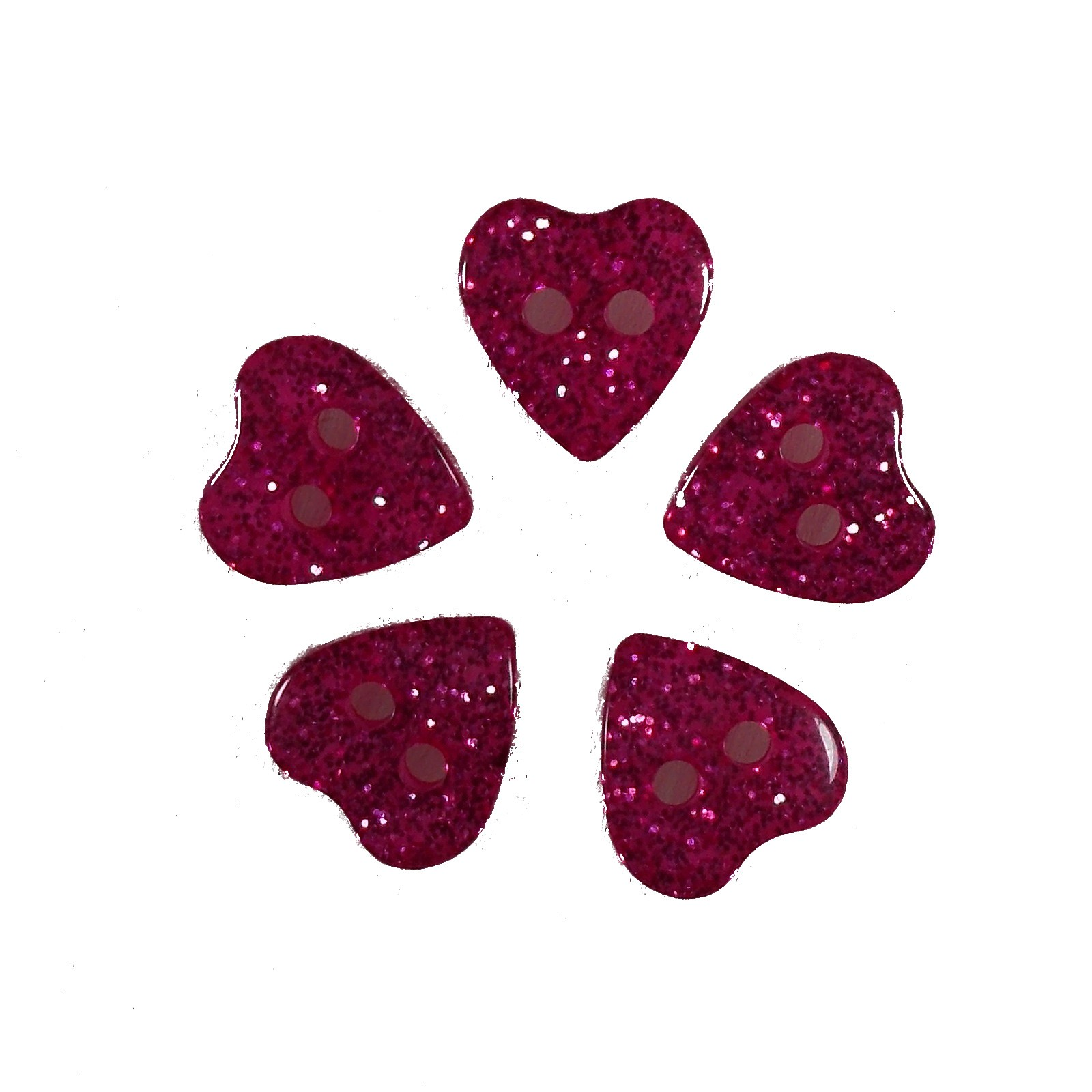 Colour Glitter Heart Shape Buttons 9mm Pink Pack of 5