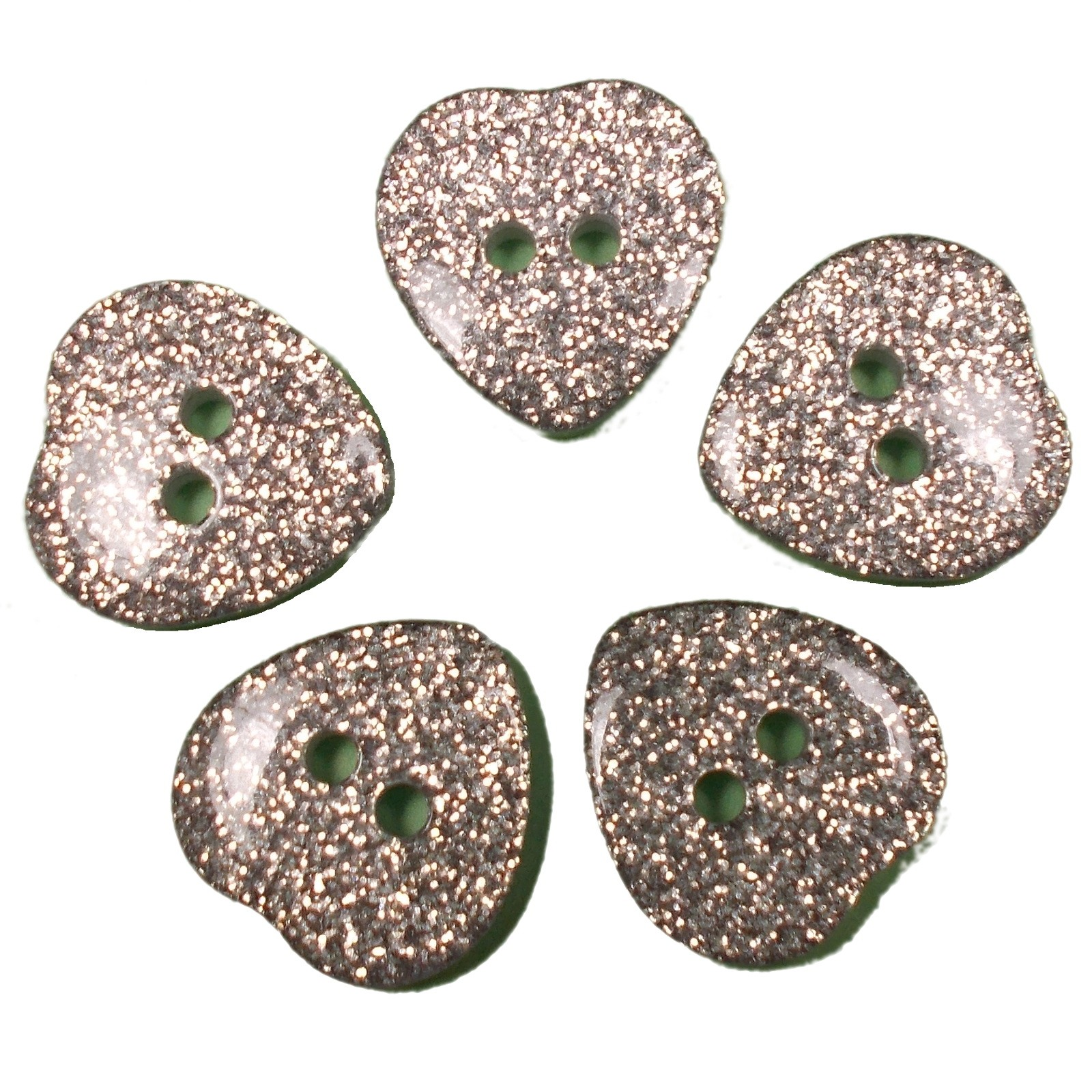 Colour Glitter Heart Shape Buttons 9mm Silver Pack of 5