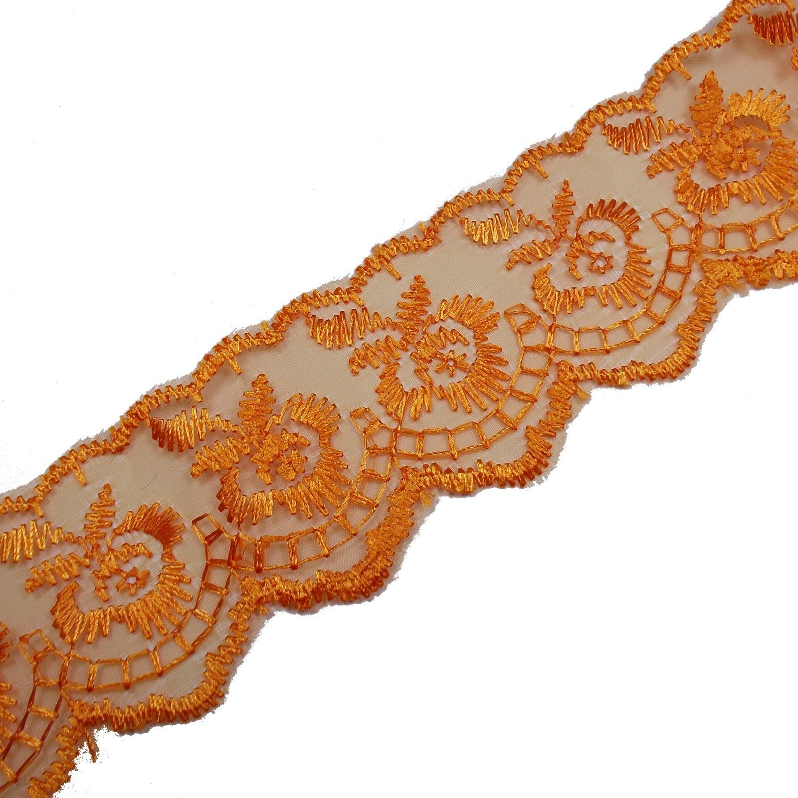 Colour Lace 45mm Wide Orange 3 metre length