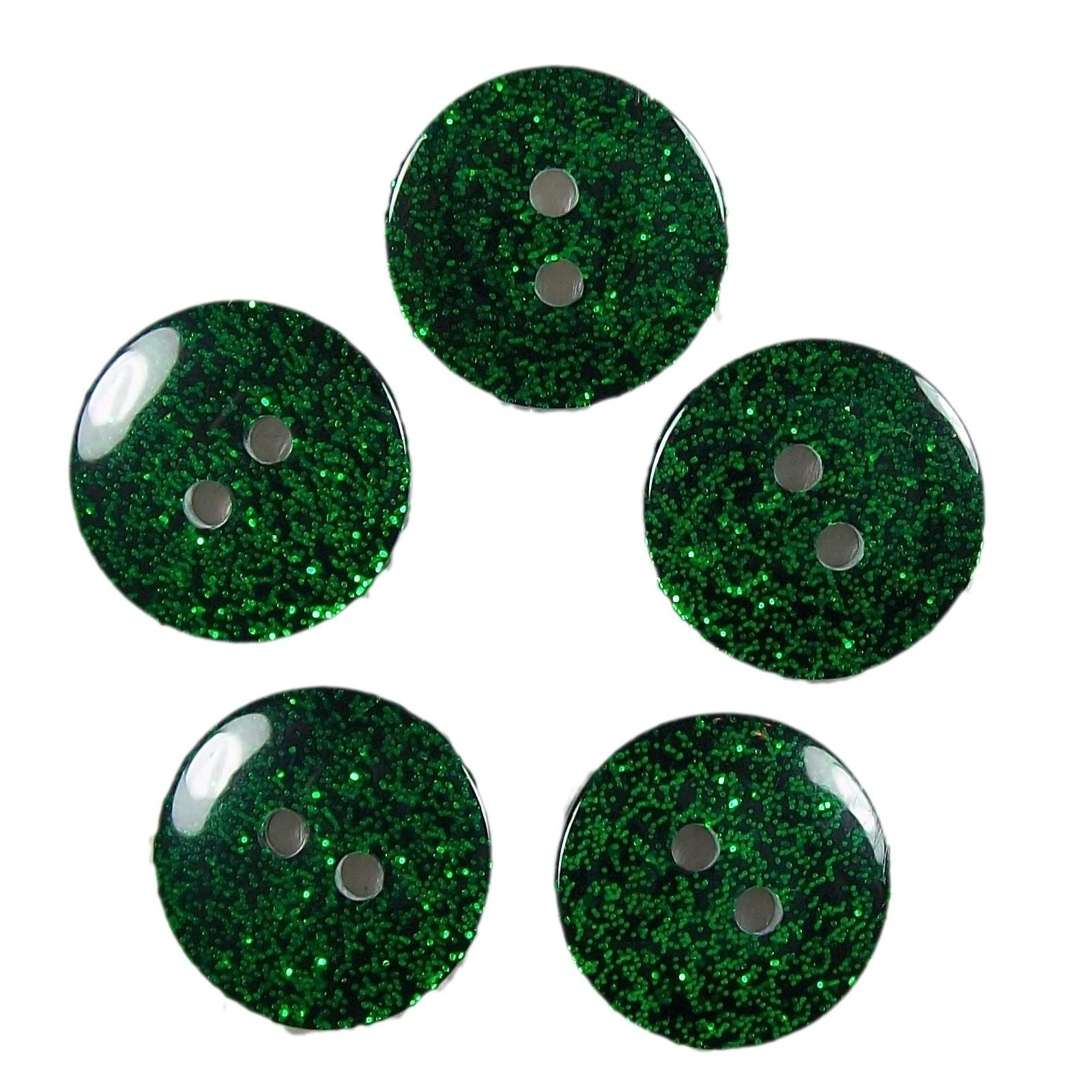 Colour Dark Glitter Buttons 17mm Green Pack of 5
