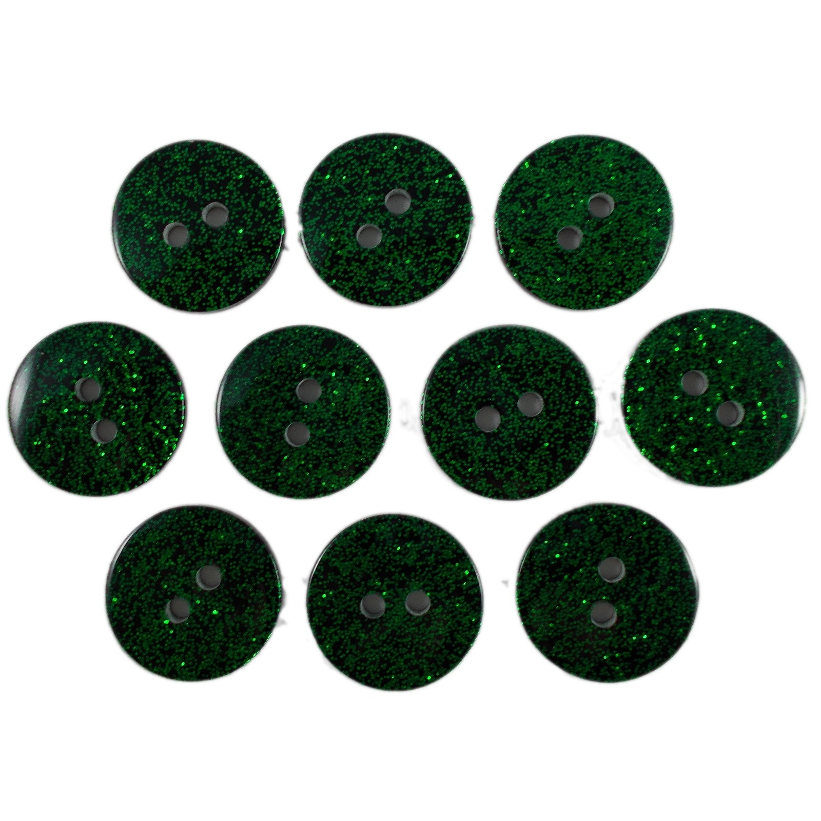 Colour Dark Glitter Buttons 17mm Green Pack of 10