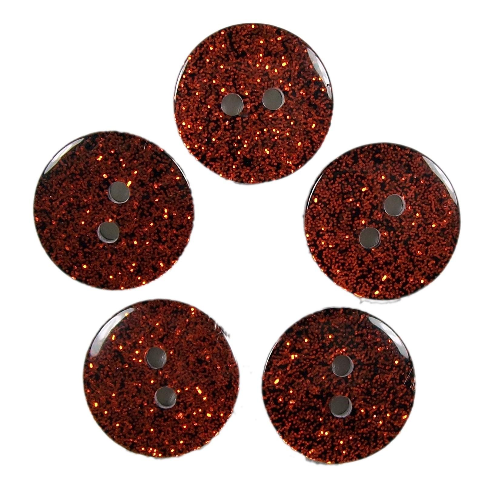 Colour Dark Glitter Buttons 12mm Orange Pack of 5