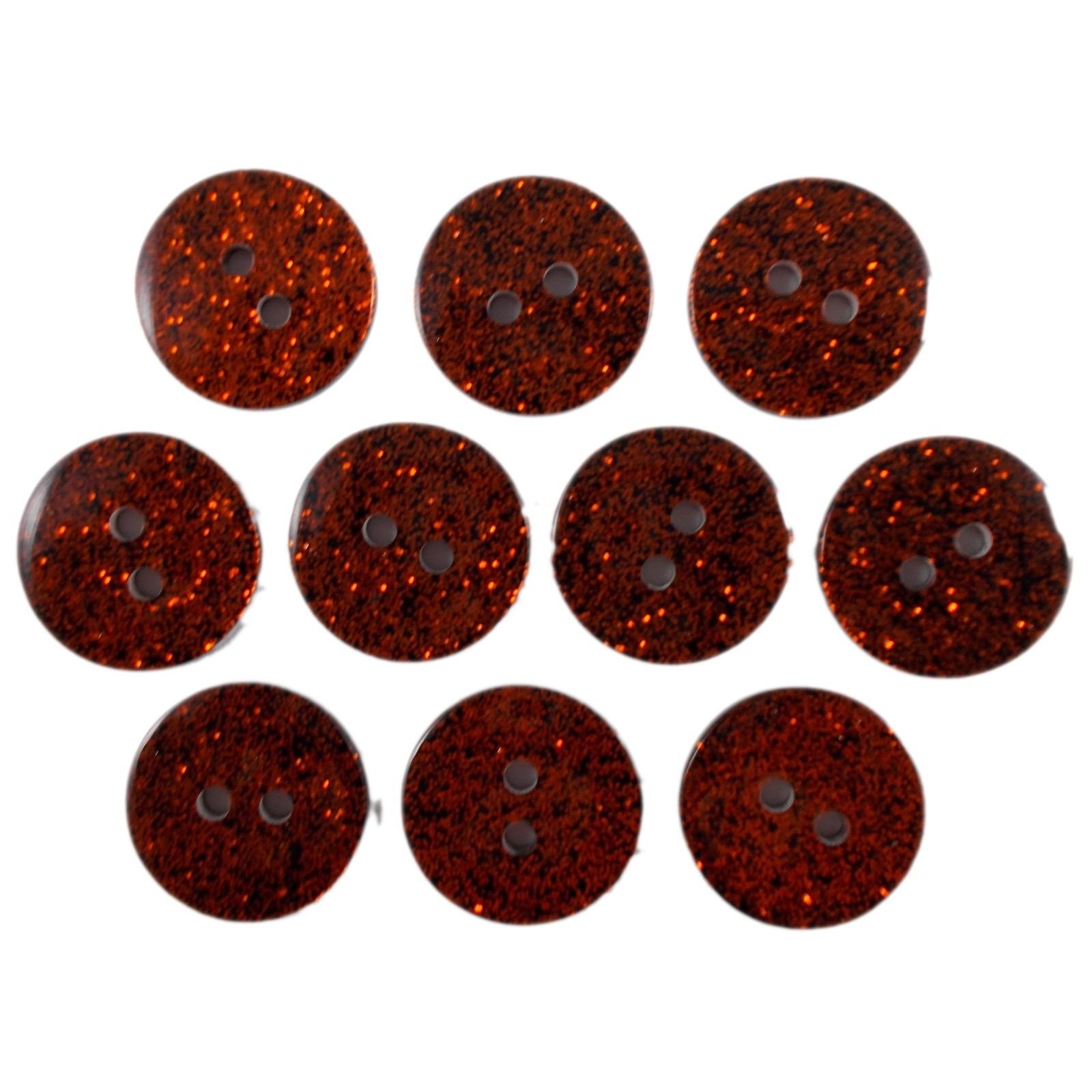Colour Dark Glitter Buttons 12mm Orange Pack of 10
